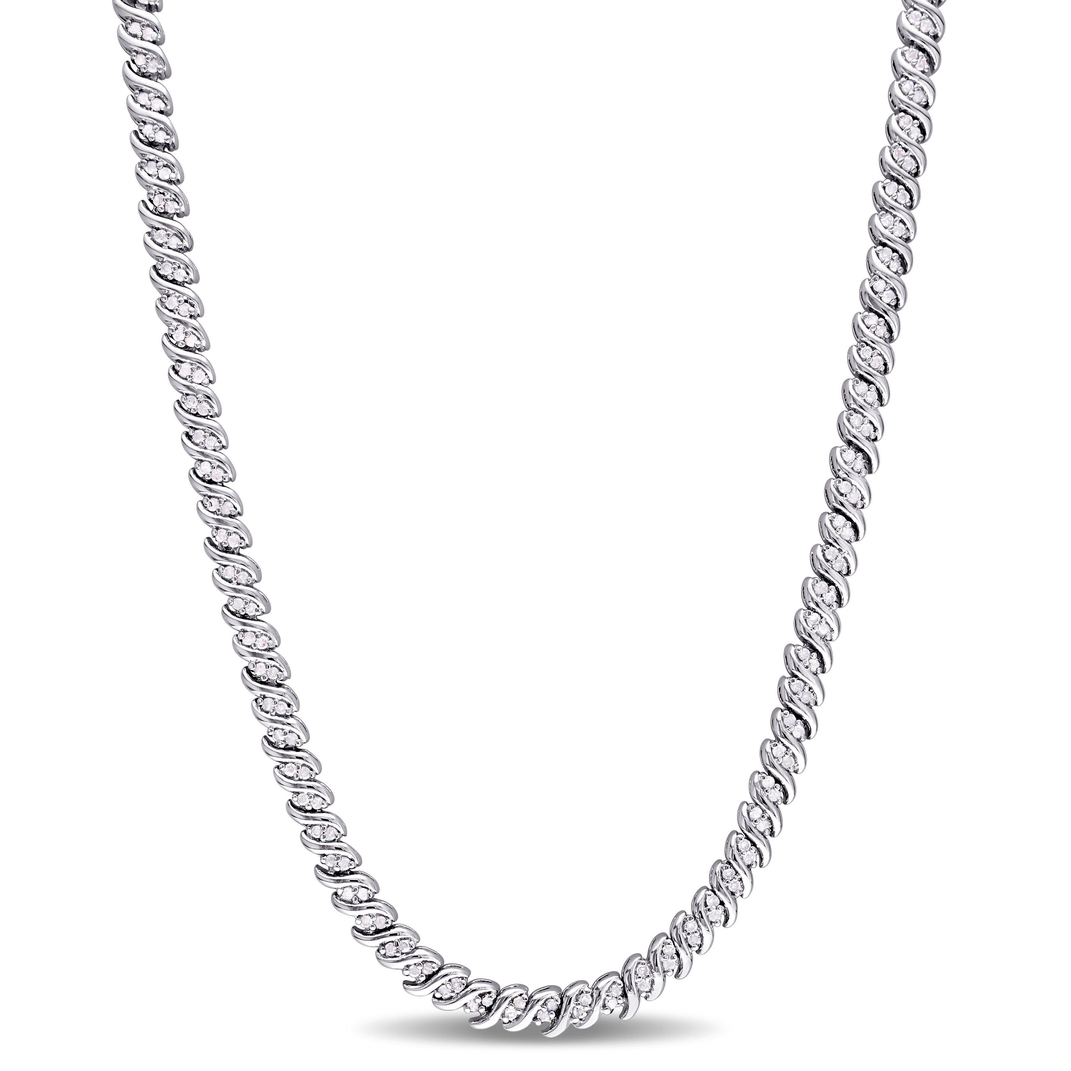 Diamond Braided Necklace 1ctw in Sterling Silver