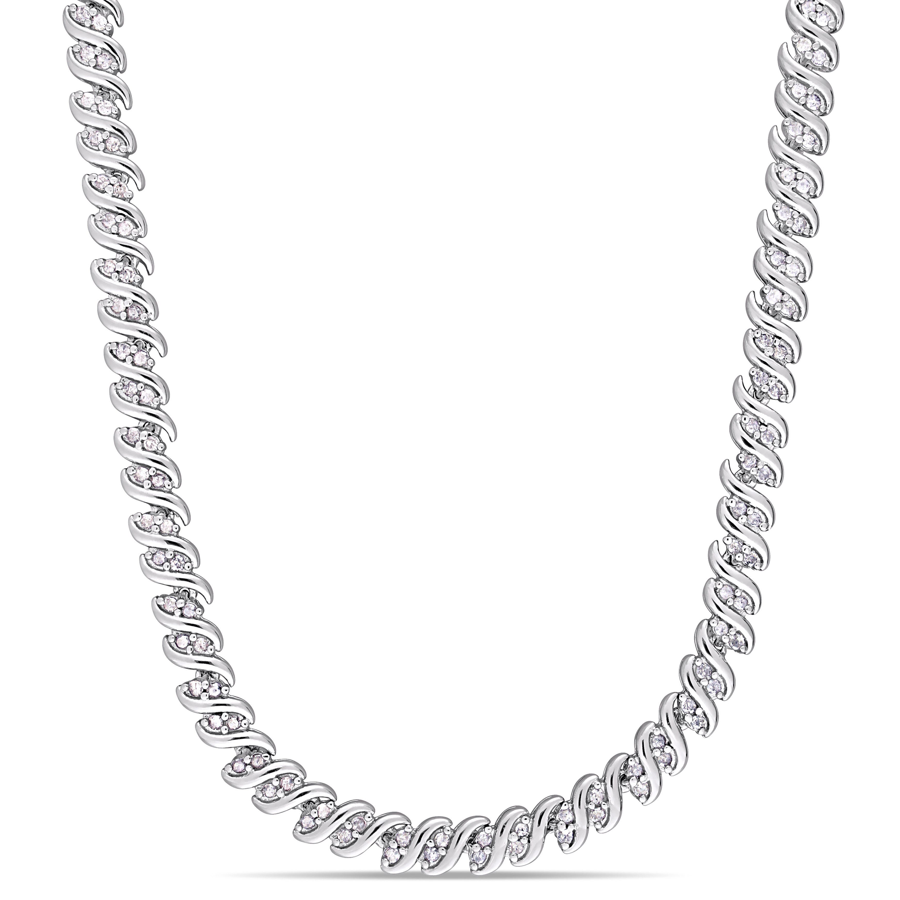 Diamond Twisted Tennis Necklace 2ctw In Sterling Silver