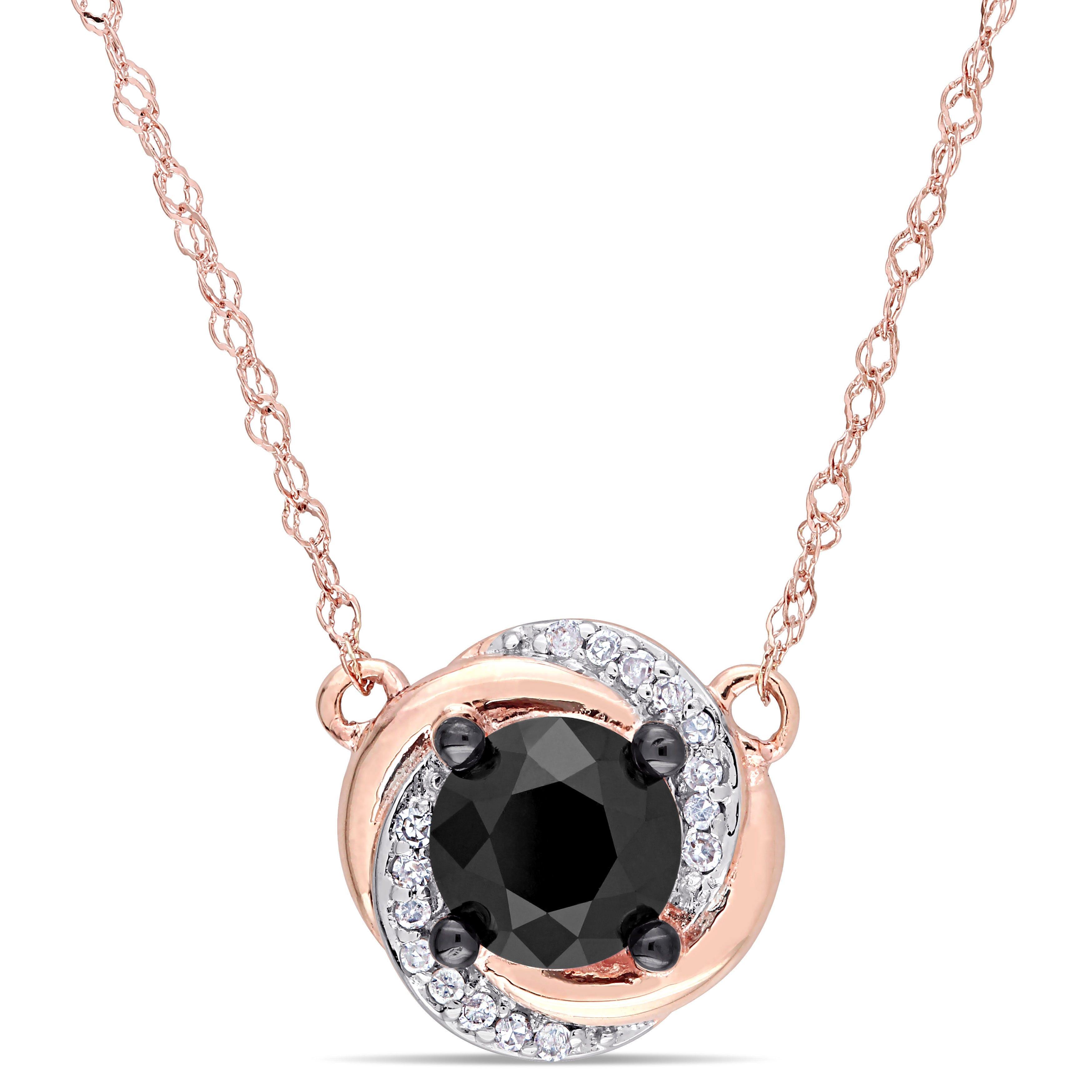 Black & White Diamond Swirl Necklace 1ctw. In 10k Rose Gold