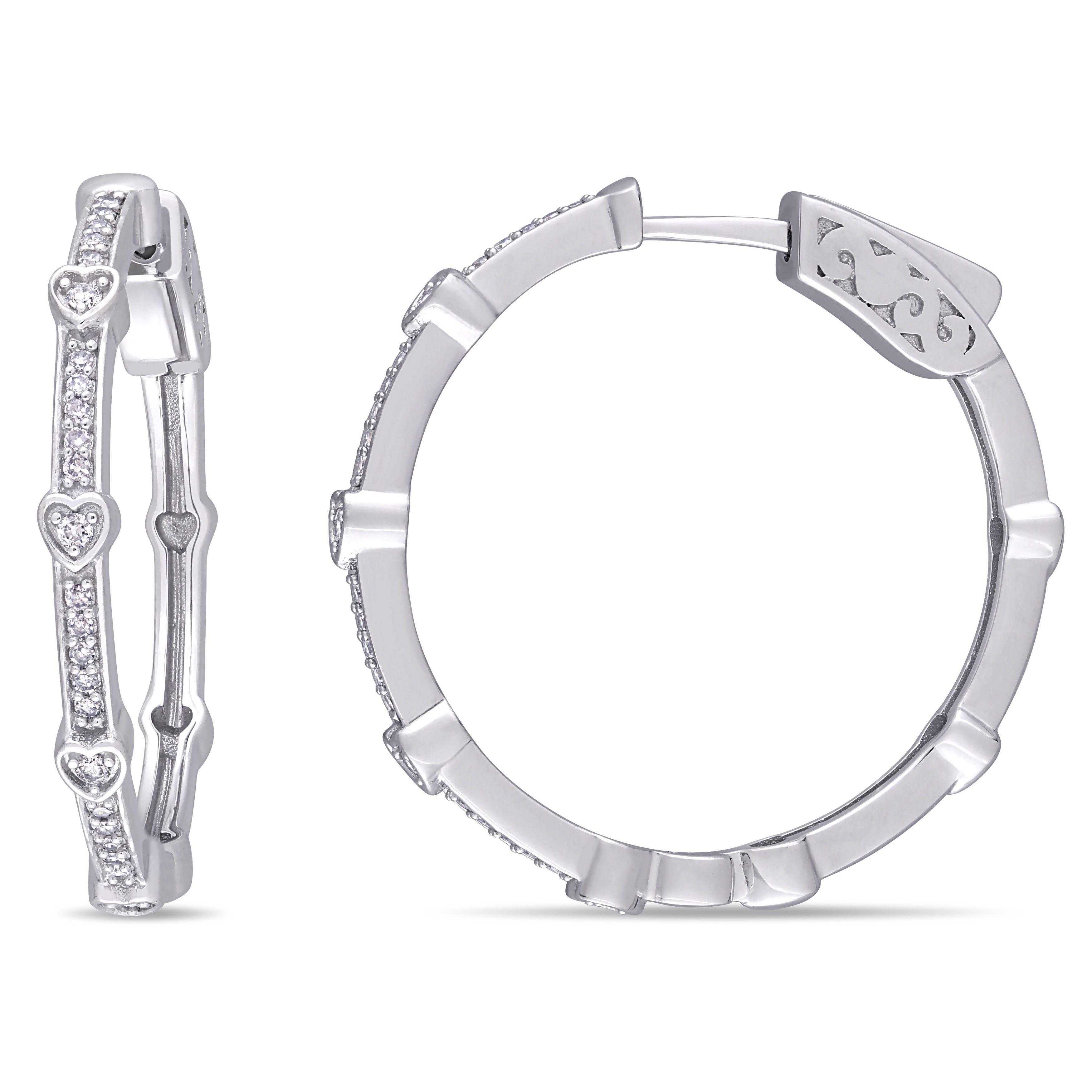 Diamond Hoop Earrings 1/4ctw. In 10k White Gold