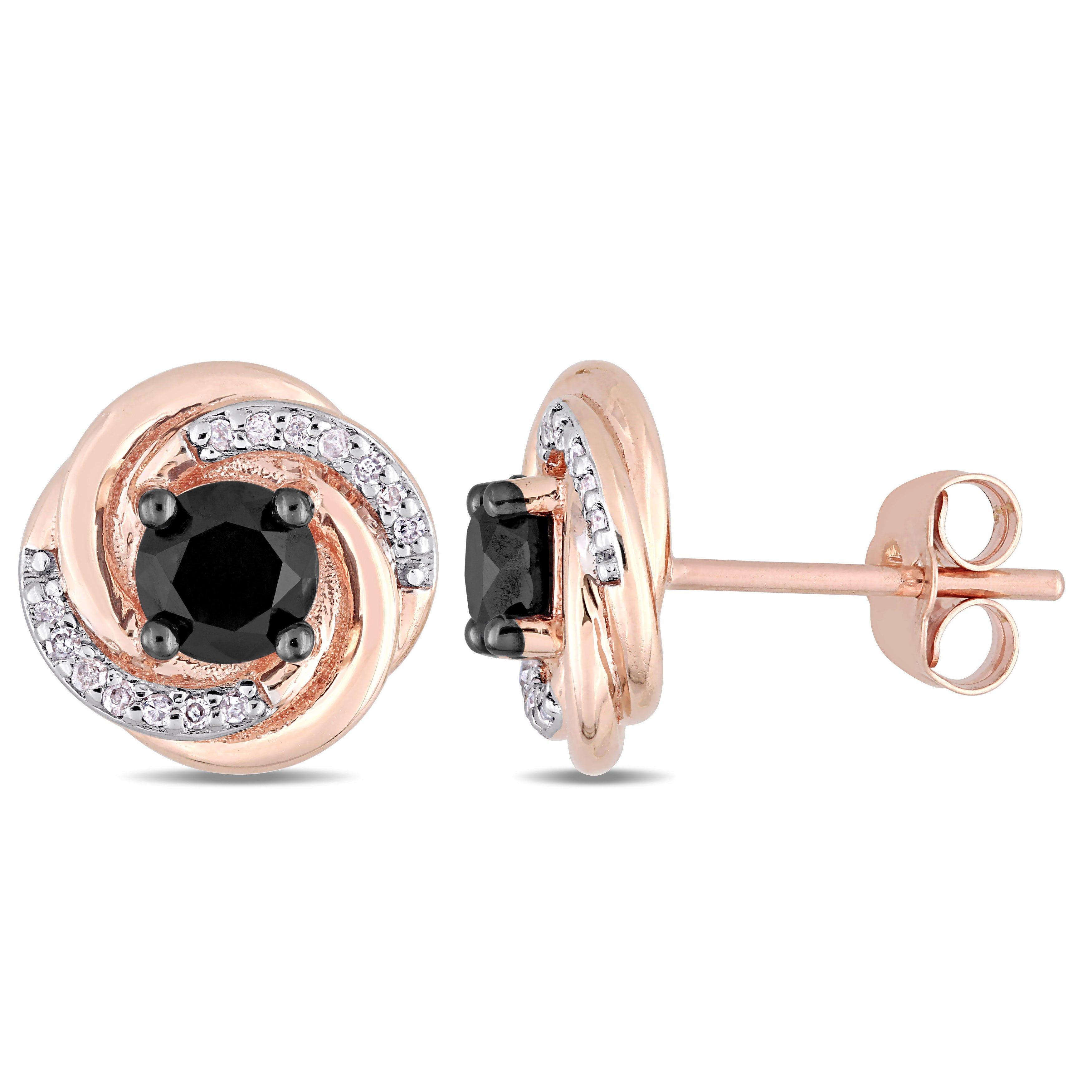 Black & White Diamond Swirl Earrings 1 1/10ctw. In 10k White Gold
