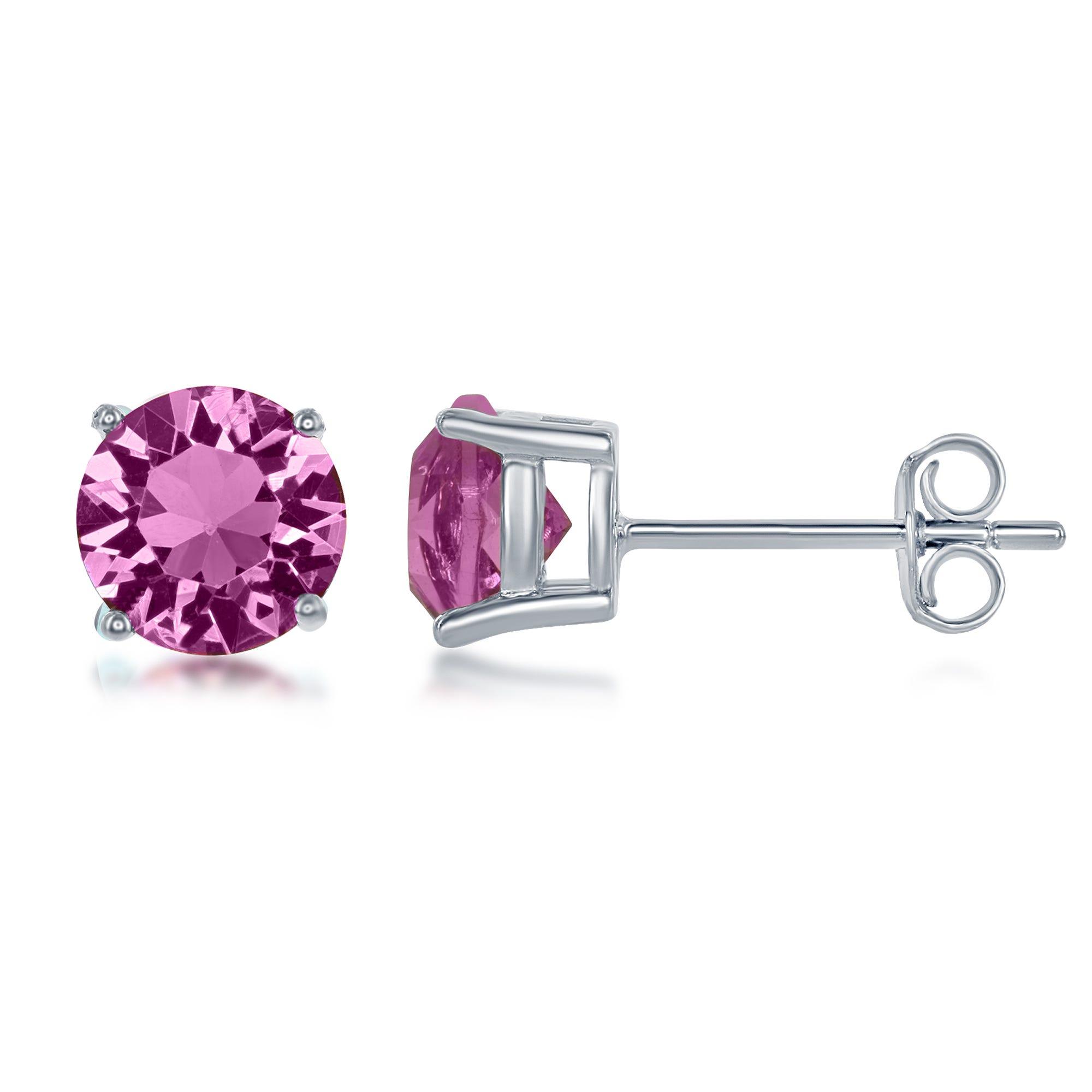October Swarovski Crystal Earrings in Sterling Silver