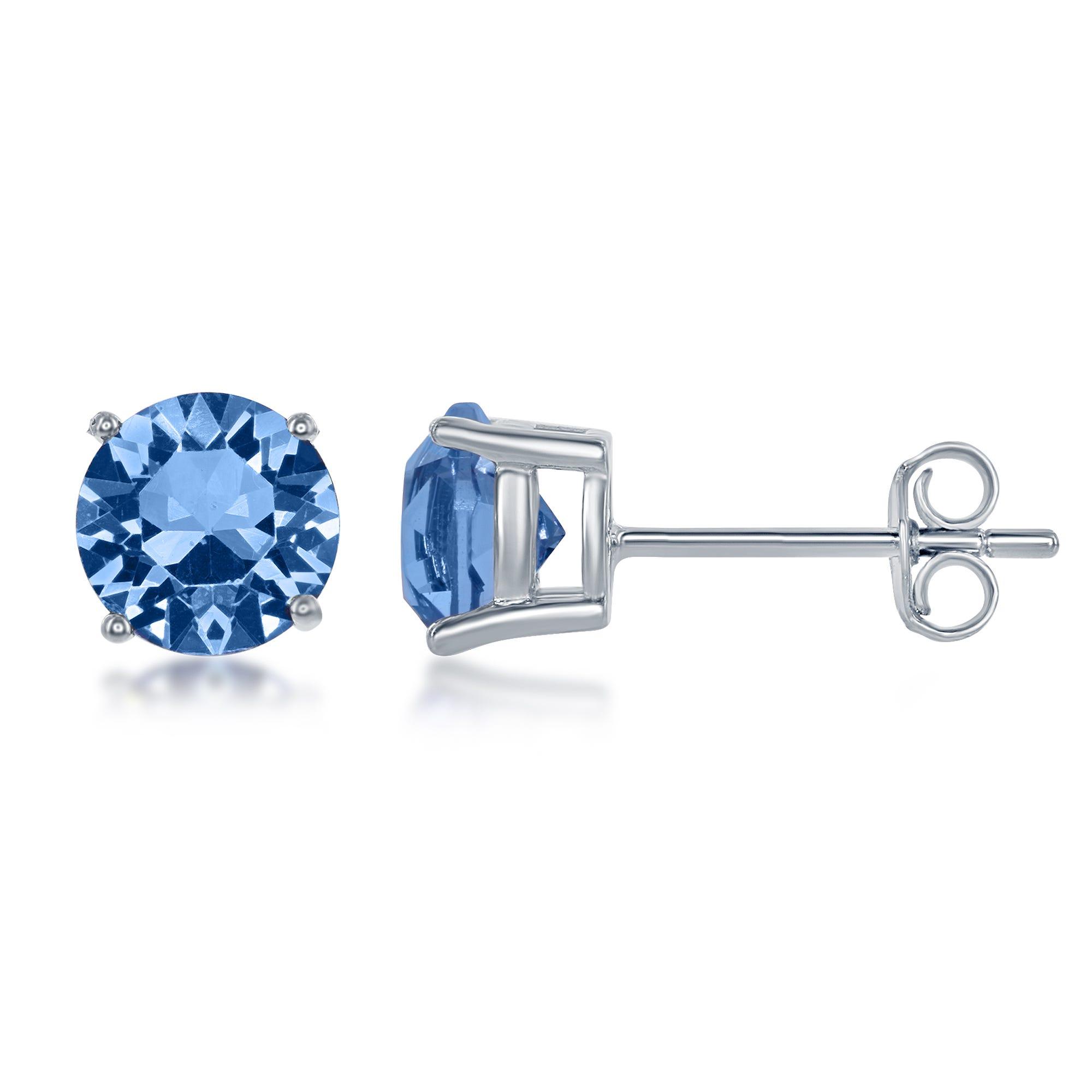 December Swarovski Crystal Earrings in Sterling Silver
