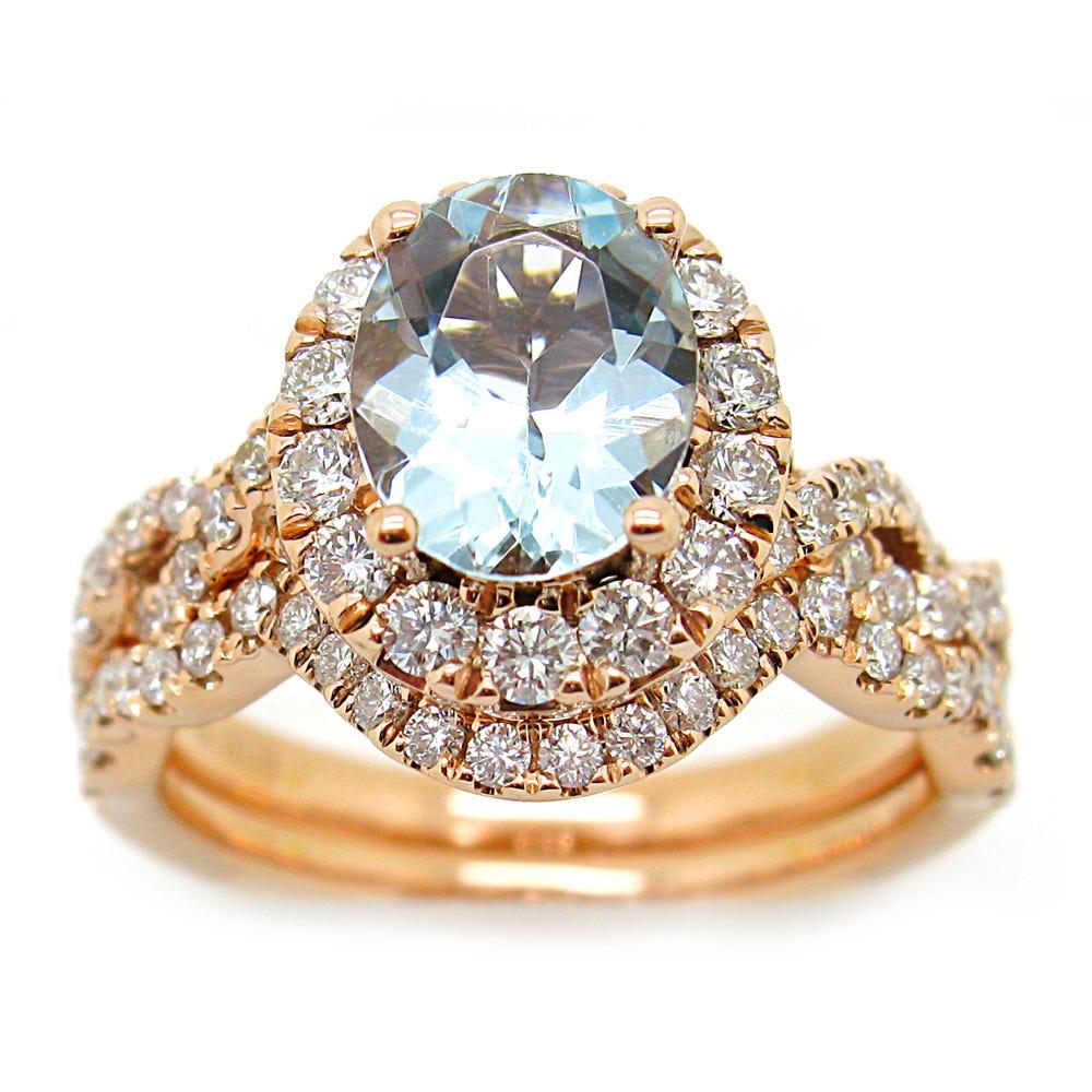 Oval Aquamarine & Diamond Halo Engagement Ring & Wedding Band Set in 14k Rose Gold