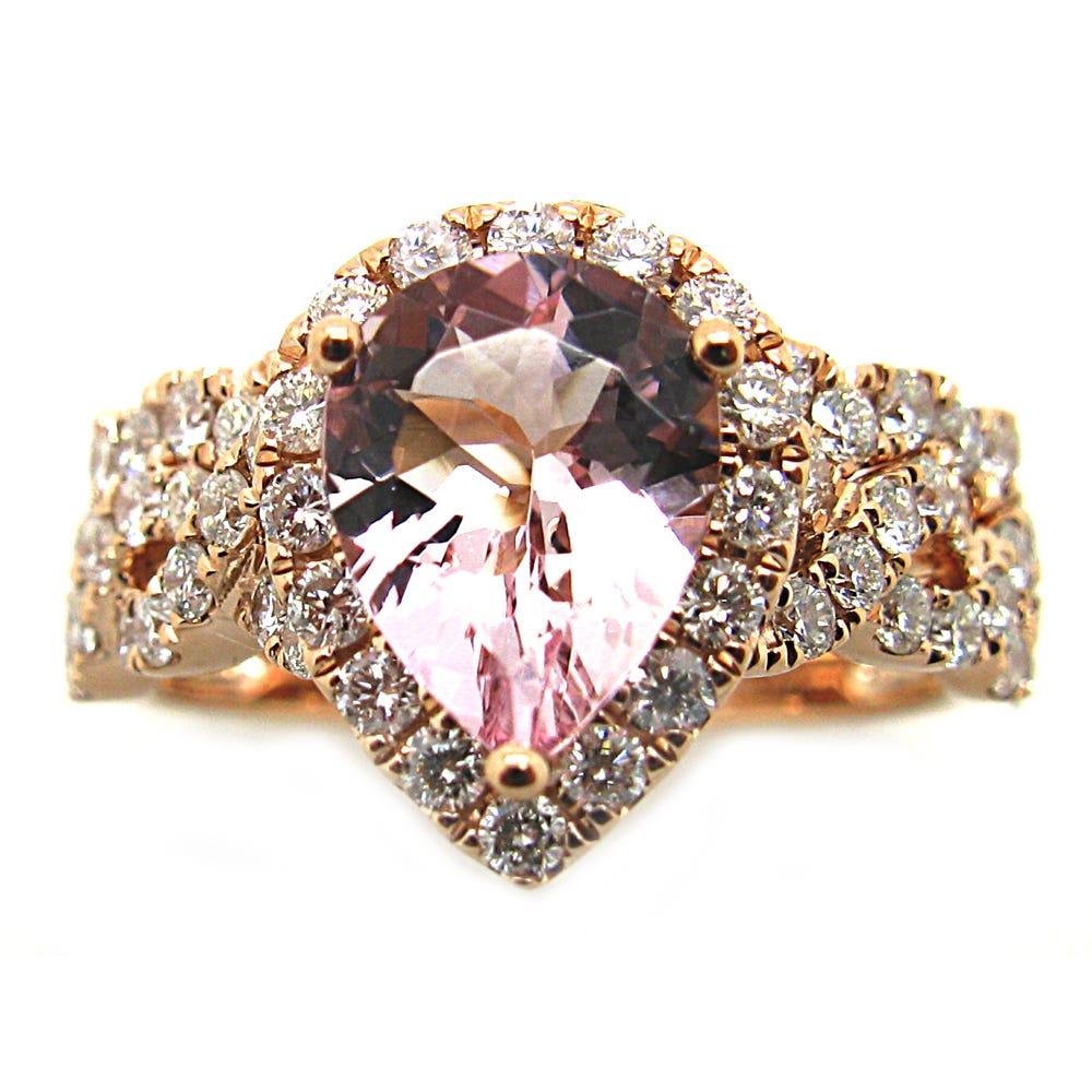 Pear Morganite & Diamond Halo Engagement Ring & Wedding Band Set in 14k Rose Gold
