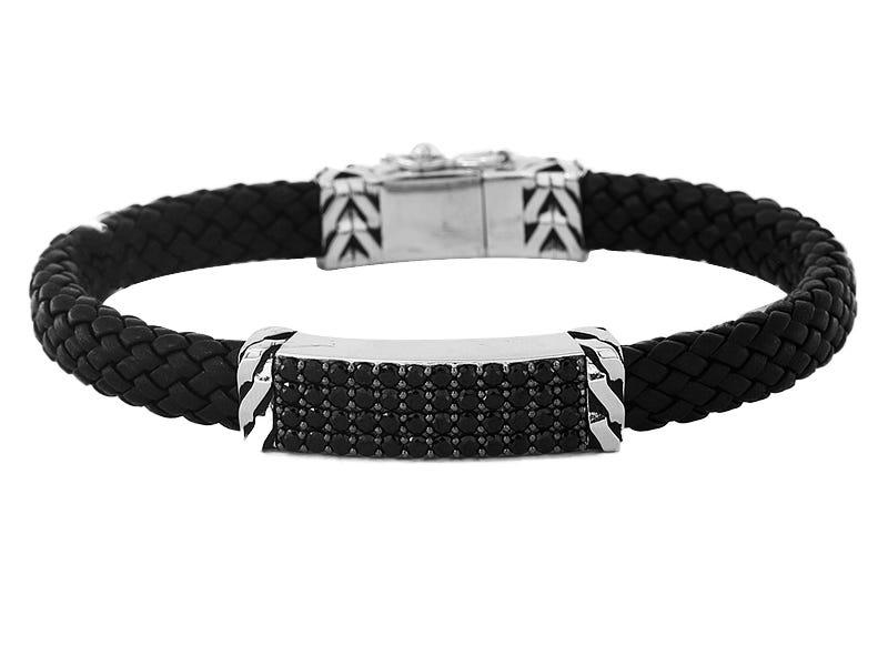 Effy Men's Black Spinel & Leather Bracelet in Sterling Silver