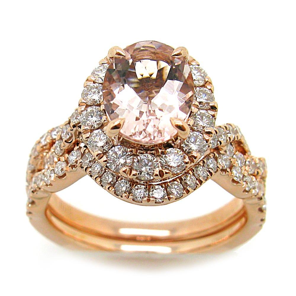 Oval Morganite & Diamond Halo Engagement Ring & Wedding Band Set in 14k Rose Gold
