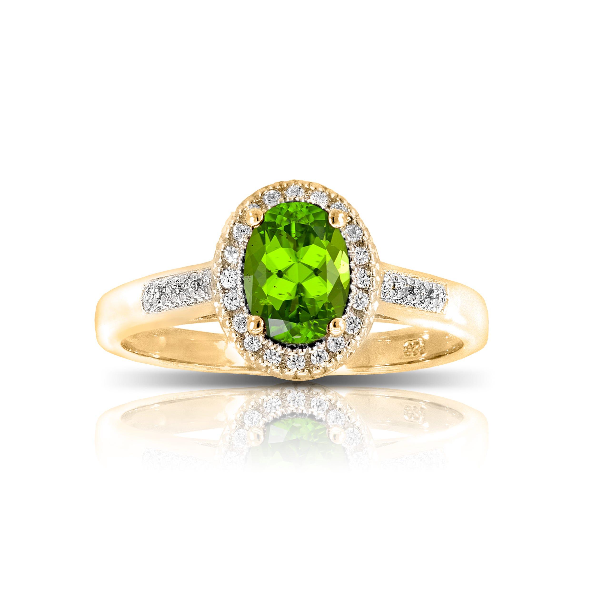 Peridot & Diamond Oval Ring in 10k Yellow Gold