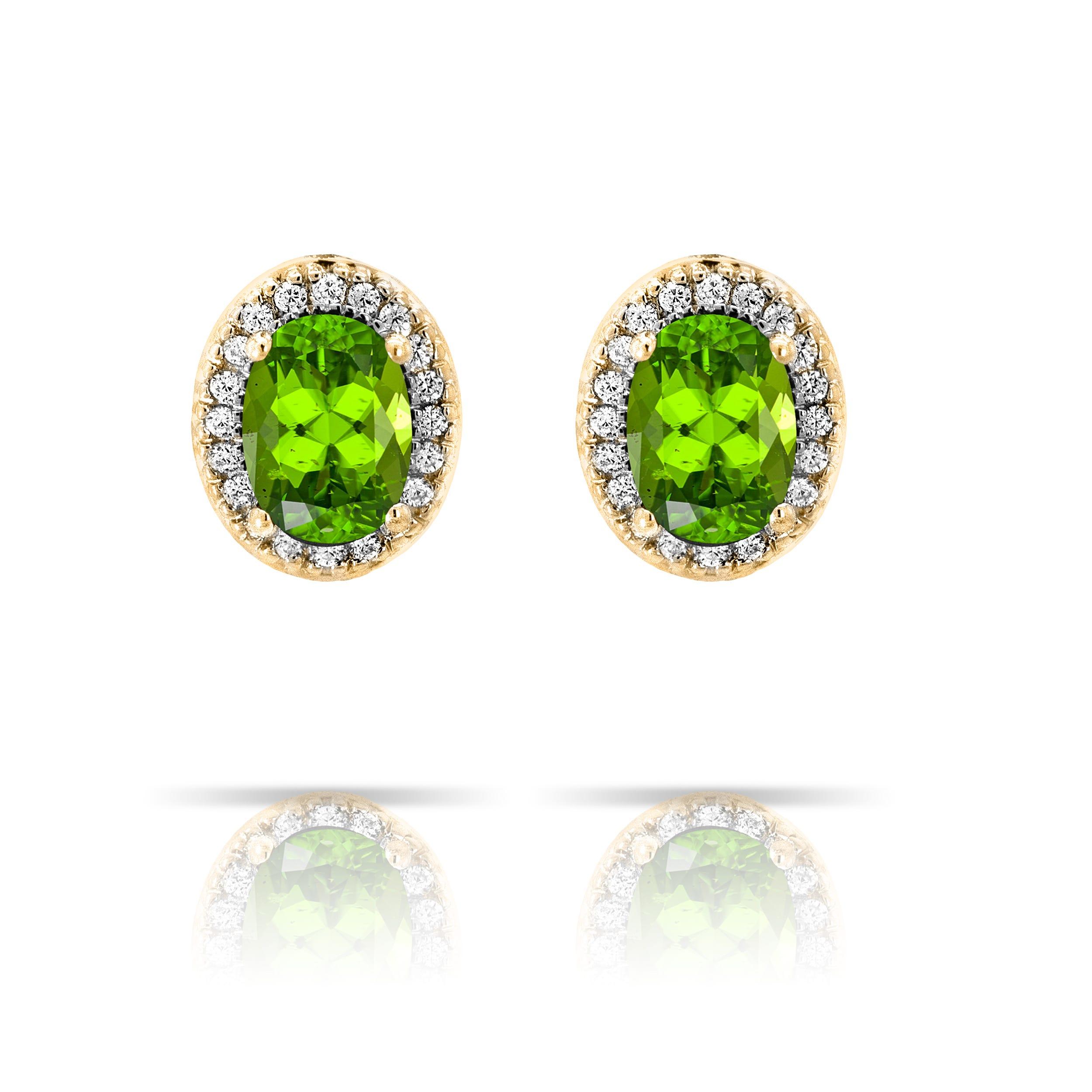 Peridot & Diamond Oval Earrings in 10k Yellow Gold