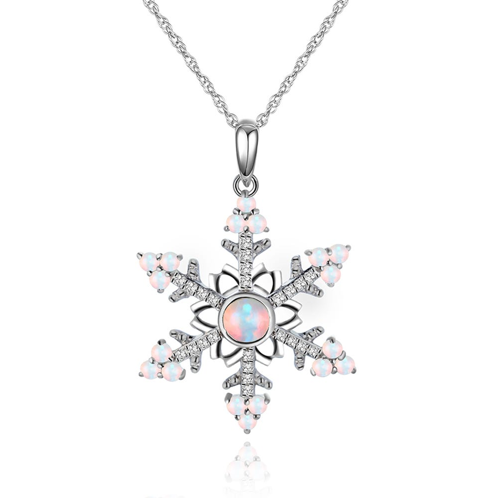 Created Opal & White Sapphire Snowflake Pendant in Sterling Silver