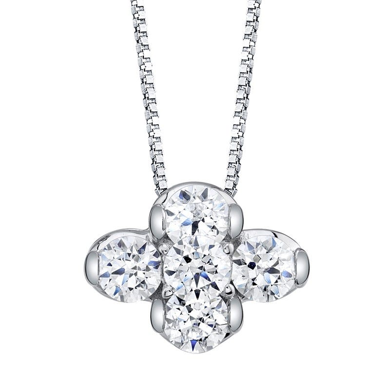 Sirena Diamond Flower Pendant 1/4ctw. In 14k White Gold