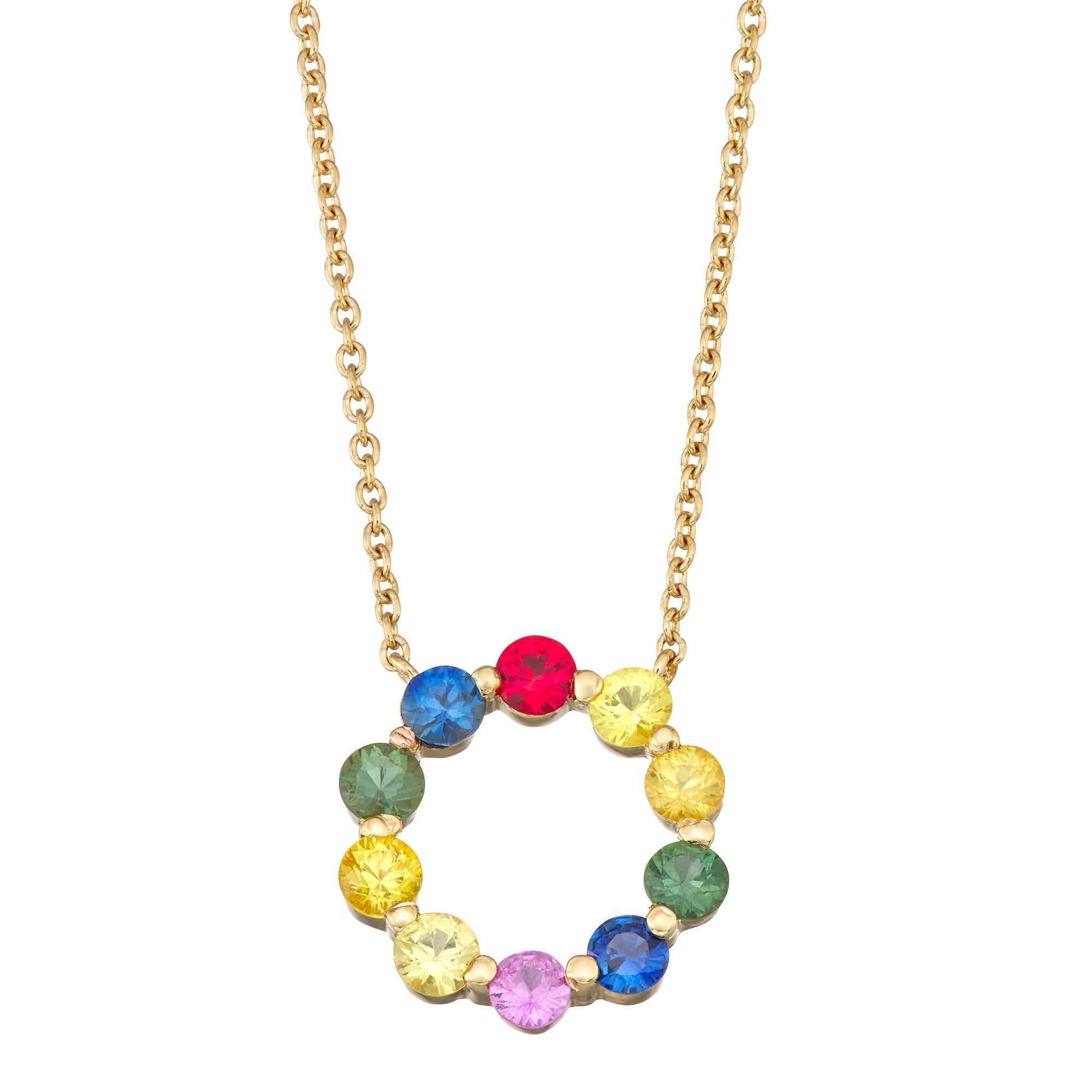 Rainbow Sapphire Circle Necklace in 14k Yellow Gold