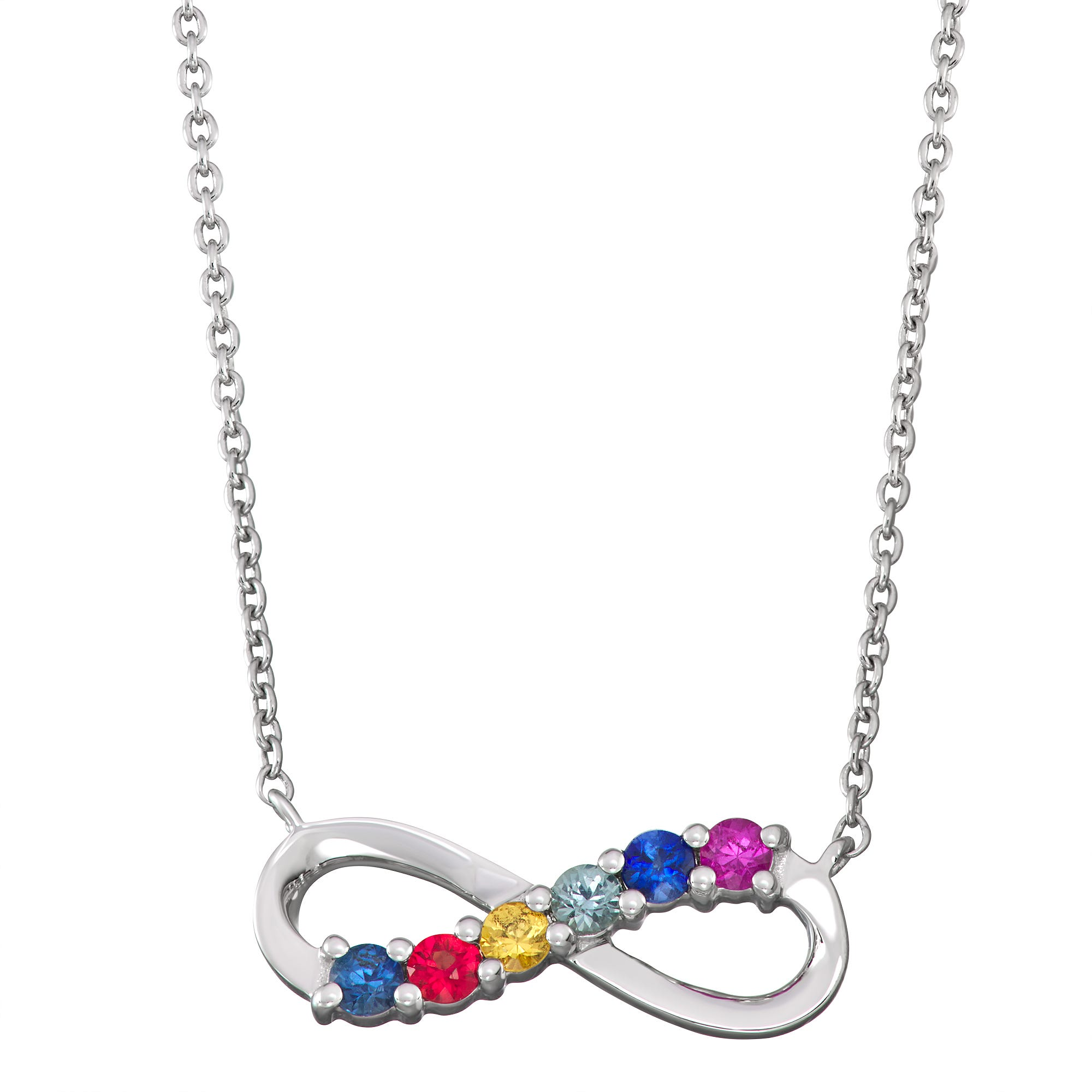 Mulit-Color Sapphire Infinity Necklace in 14k White Gold