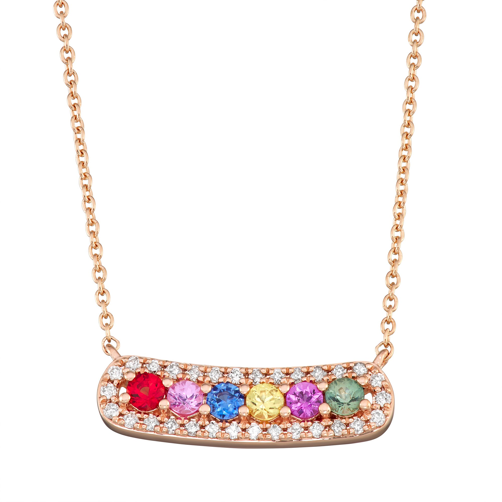 Multi-Color Sapphire Bar Necklace in 14k Rose Gold