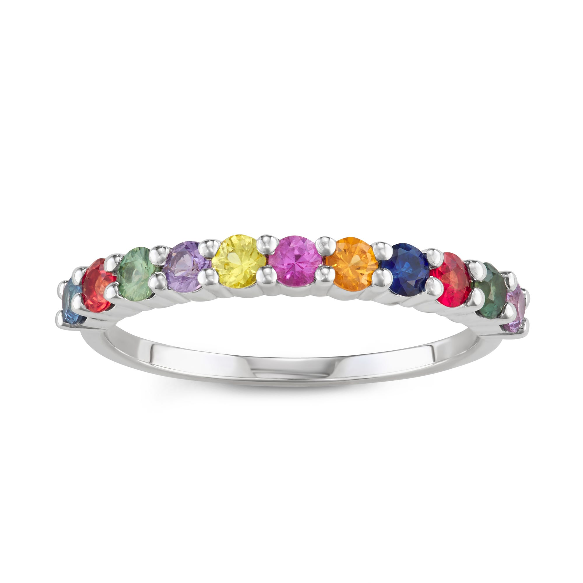 Rainbow Sapphire Stackable Ring in 14k White Gold