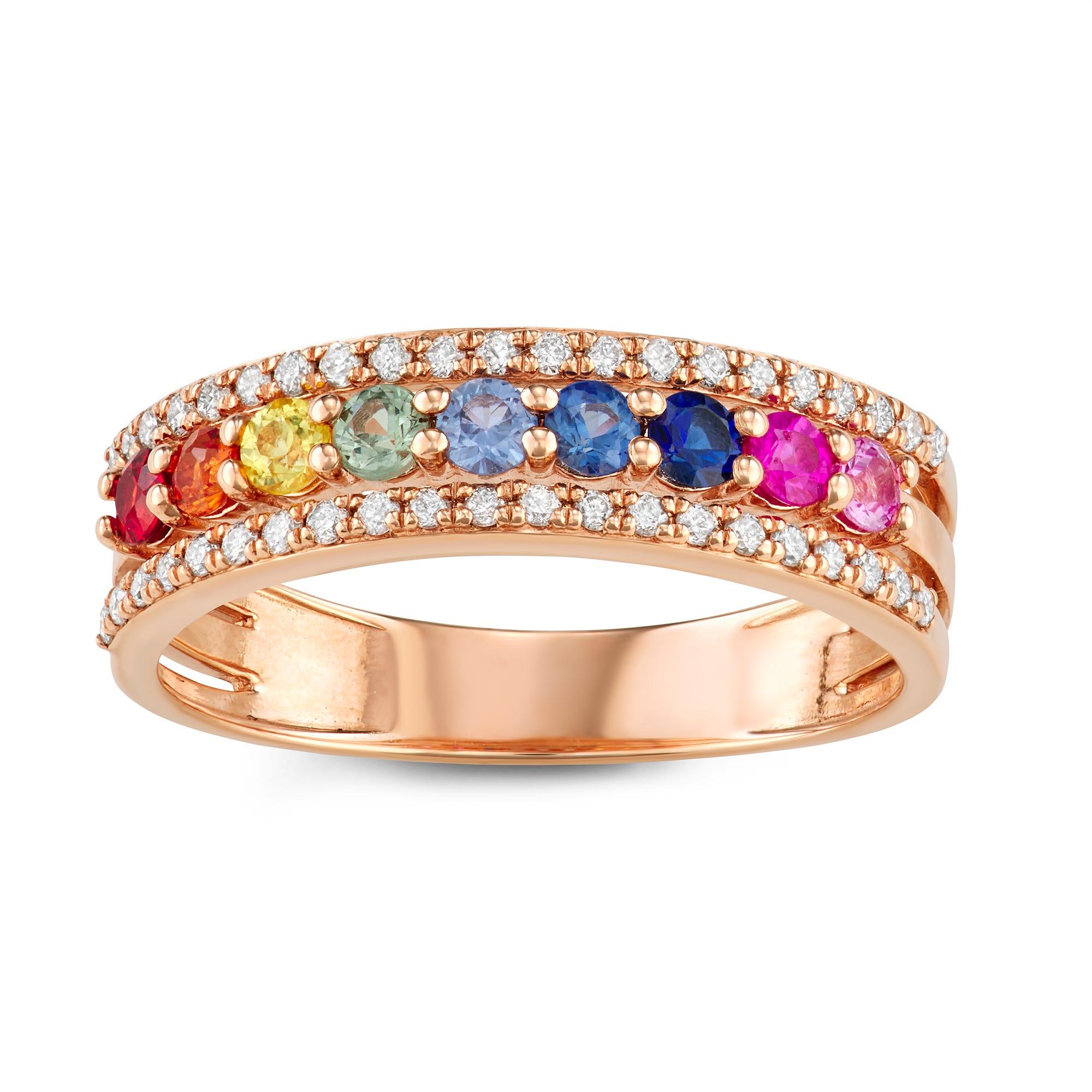 Multi-Color Sapphire & Diamond Ring in 14k Rose Gold