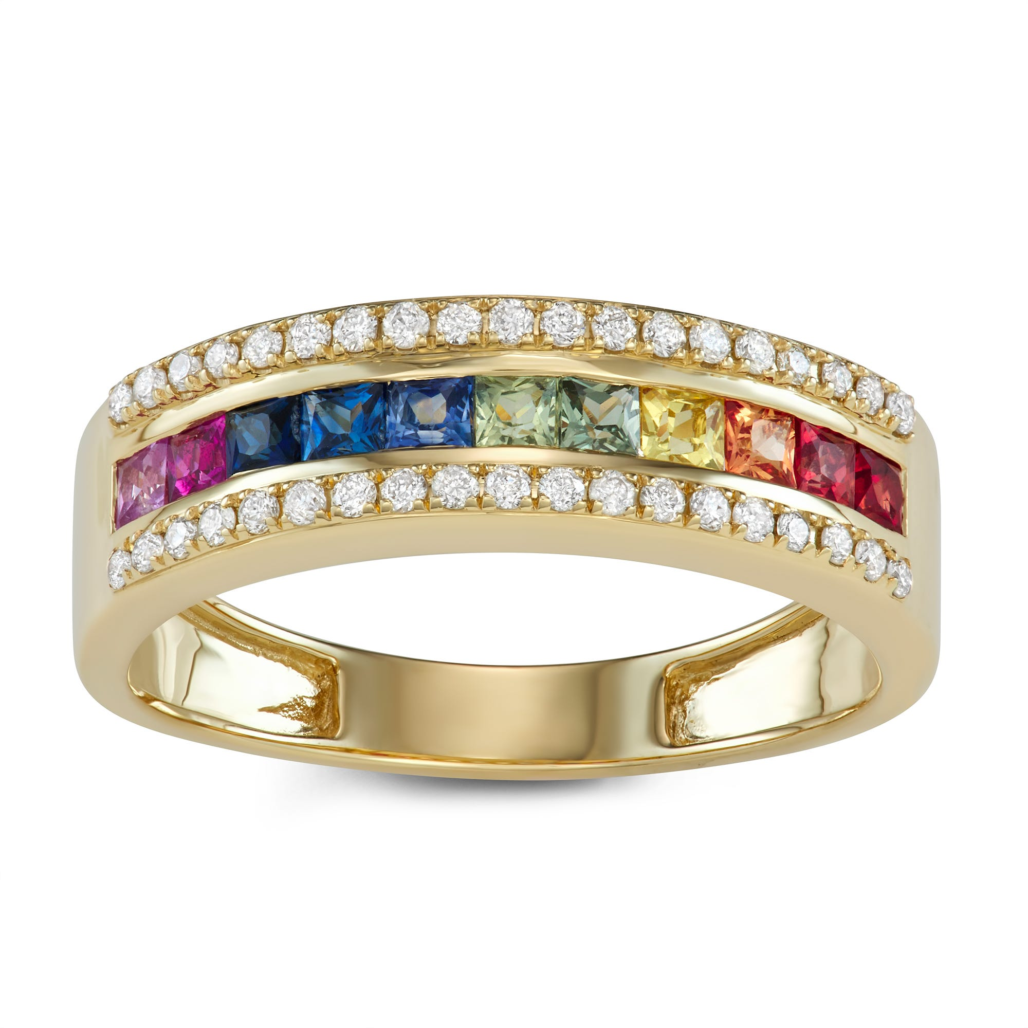 Rainbow Sapphire & Diamond Ring in 14k Yellow Gold