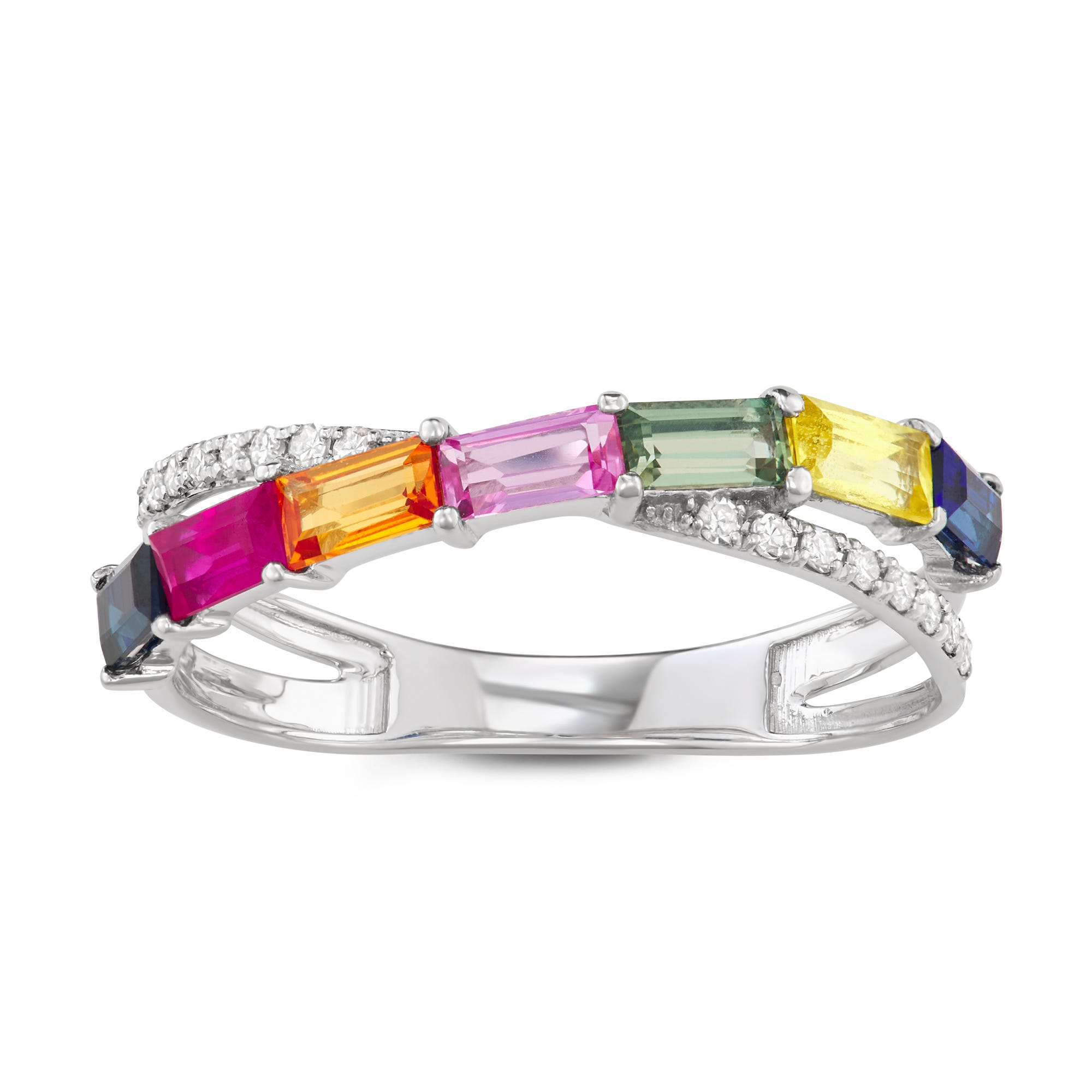 Rainbow Sapphire & Diamond Twist Ring in 14k White Gold