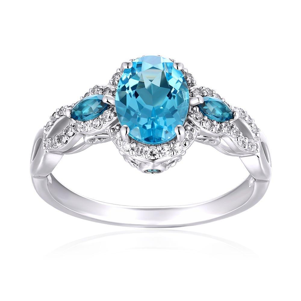 JK Crown® Blue Topaz & Diamond Oval Ring in 10k White Gold