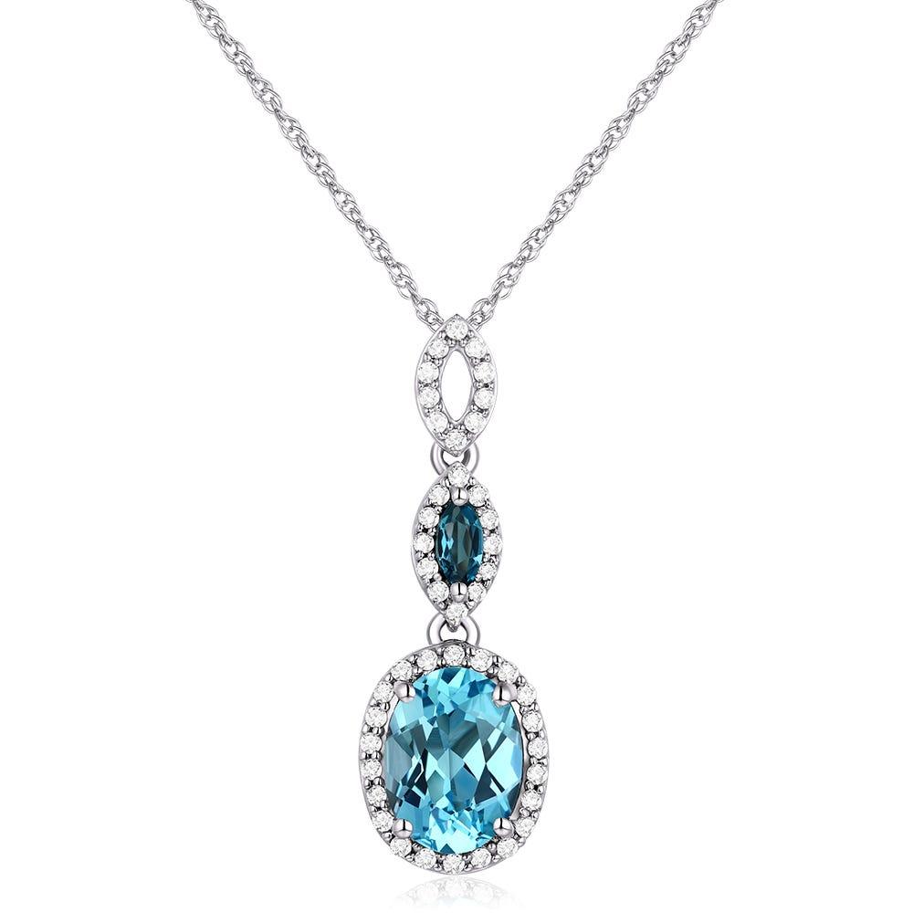 JK Crown® Blue Topaz & Diamond Oval Pendant in 10k White Gold