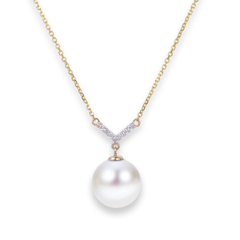 Freshwater Pearl & Diamond 8.5mm Necklace in 14k Yellow Gold.