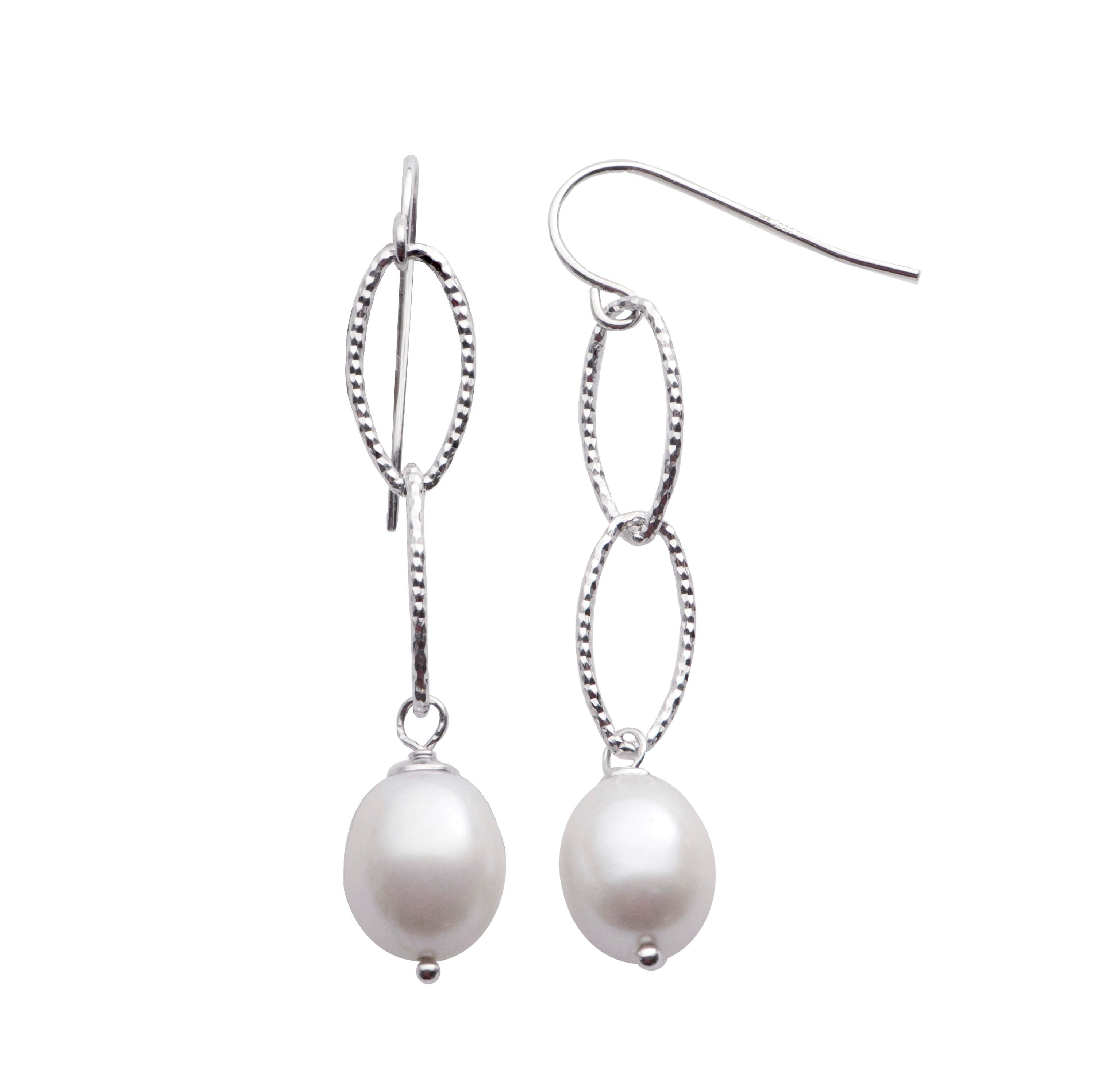 Freshwater Pearl Oval Dangle Earrings in Sterling Silver