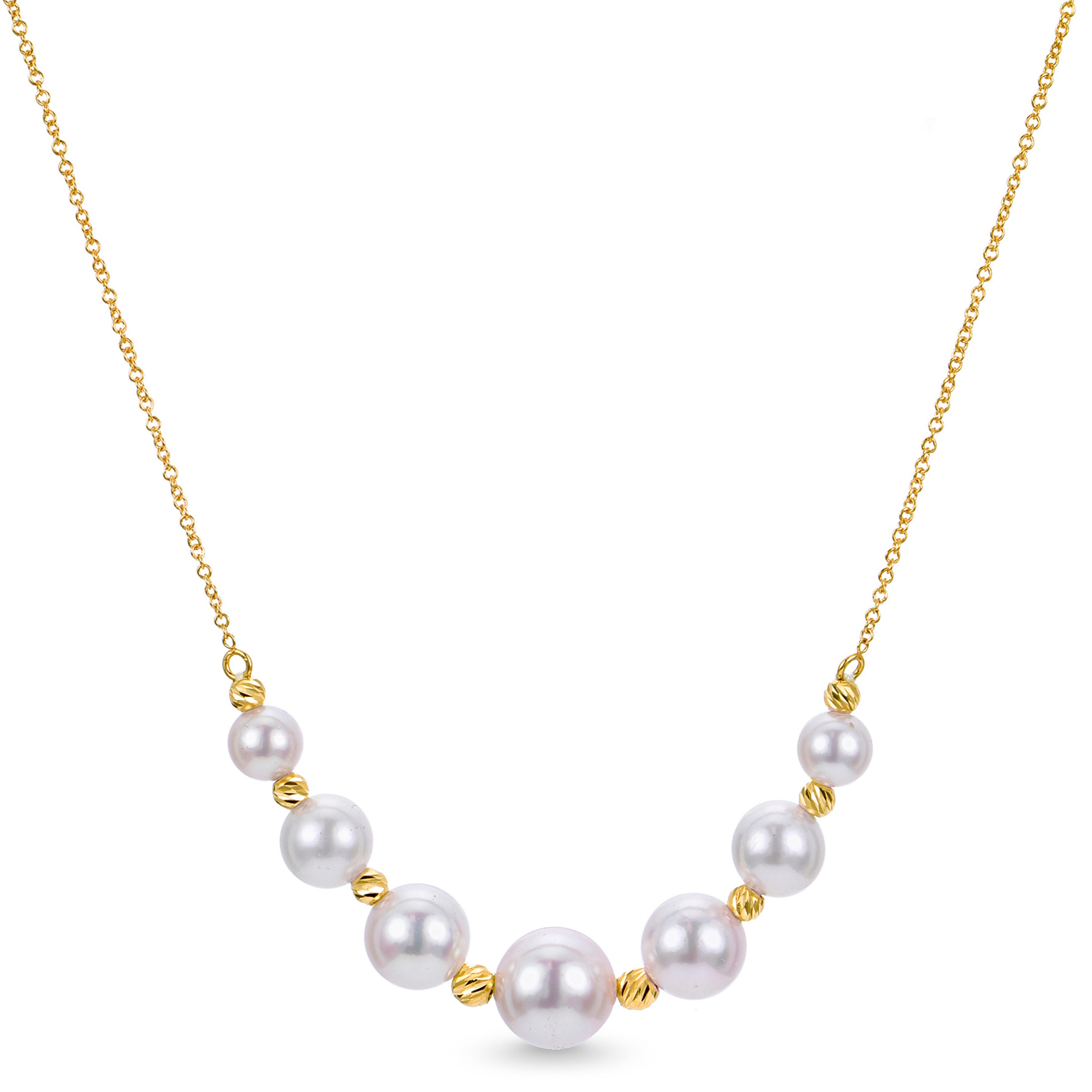 Akoya Pearl Graduated Bead Necklace in 14k Yellow Gold