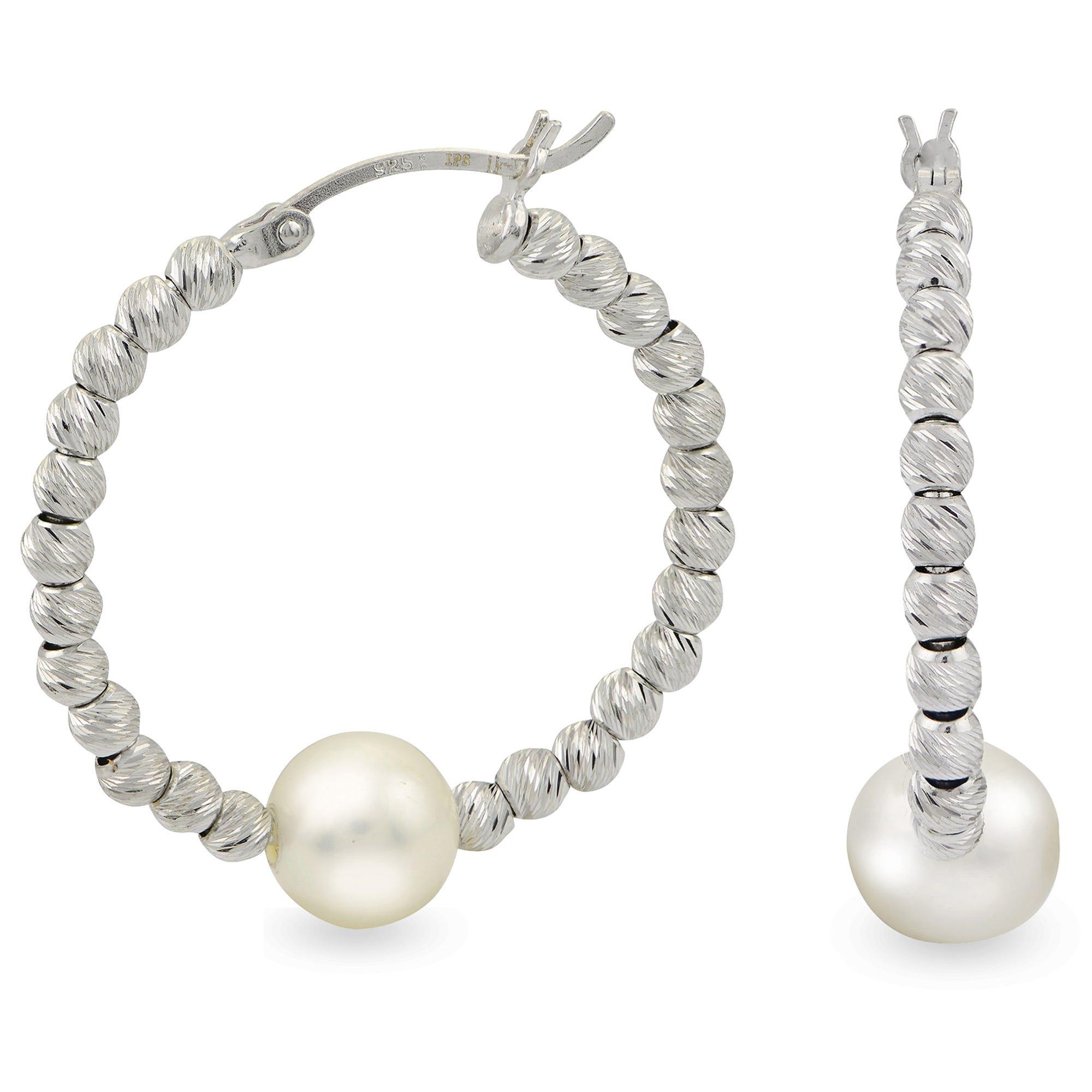 Freshwater Pearl Bead Hoop Earrings in Sterling Silver