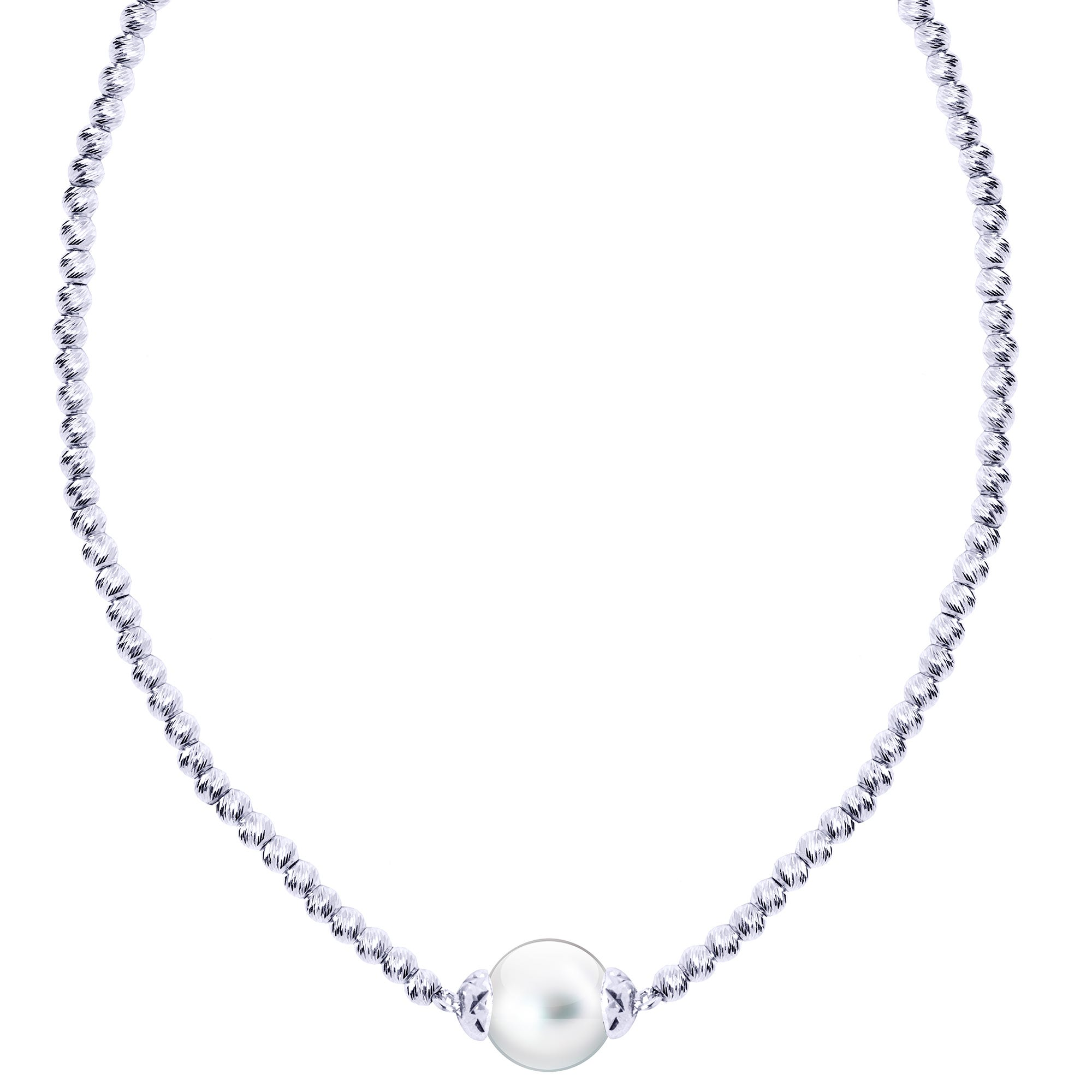 Freshwater Pearl Bead Necklace in Sterling Silver