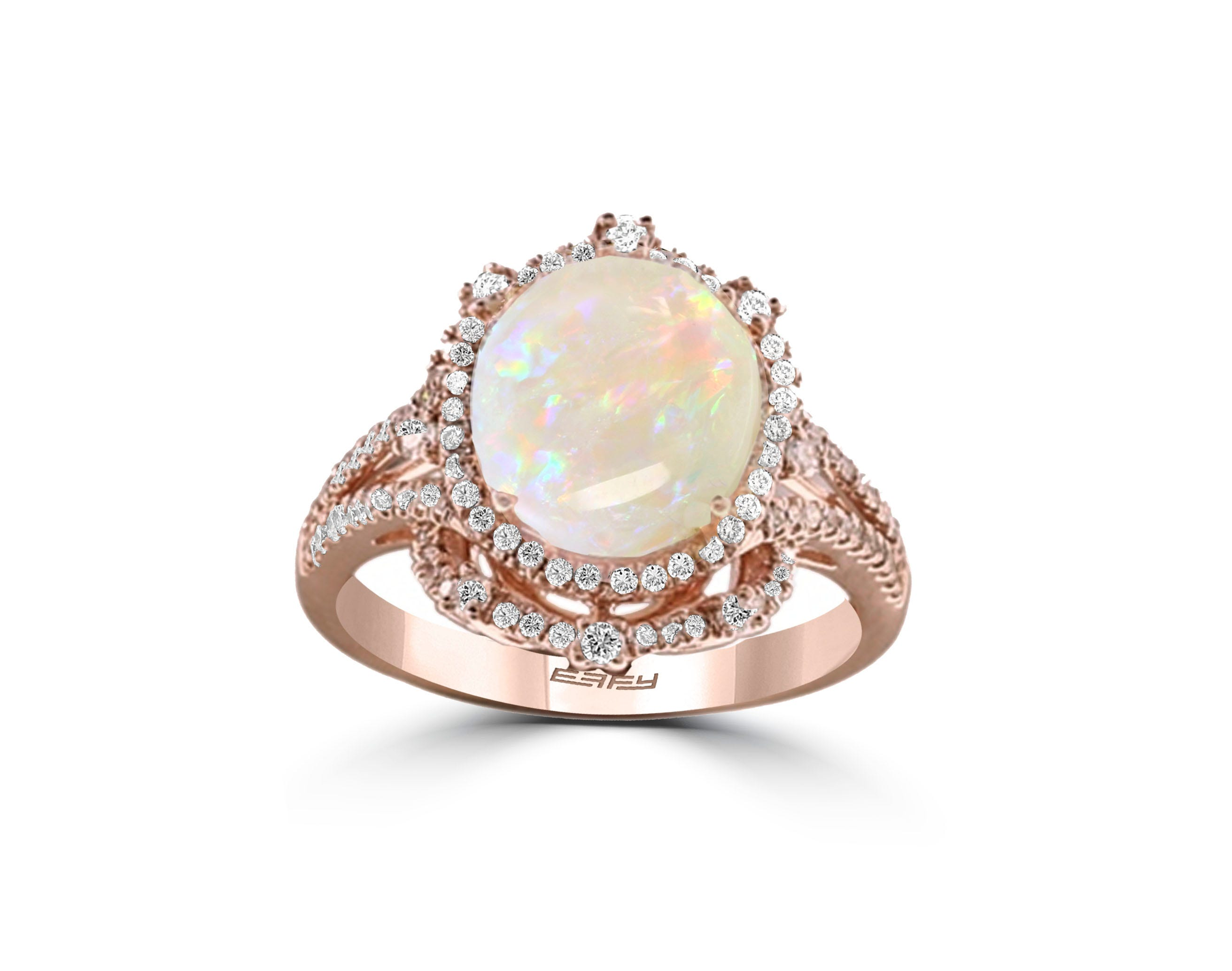 EFFY Oval Opal & Diamond Halo Ring in 14k Rose Gold