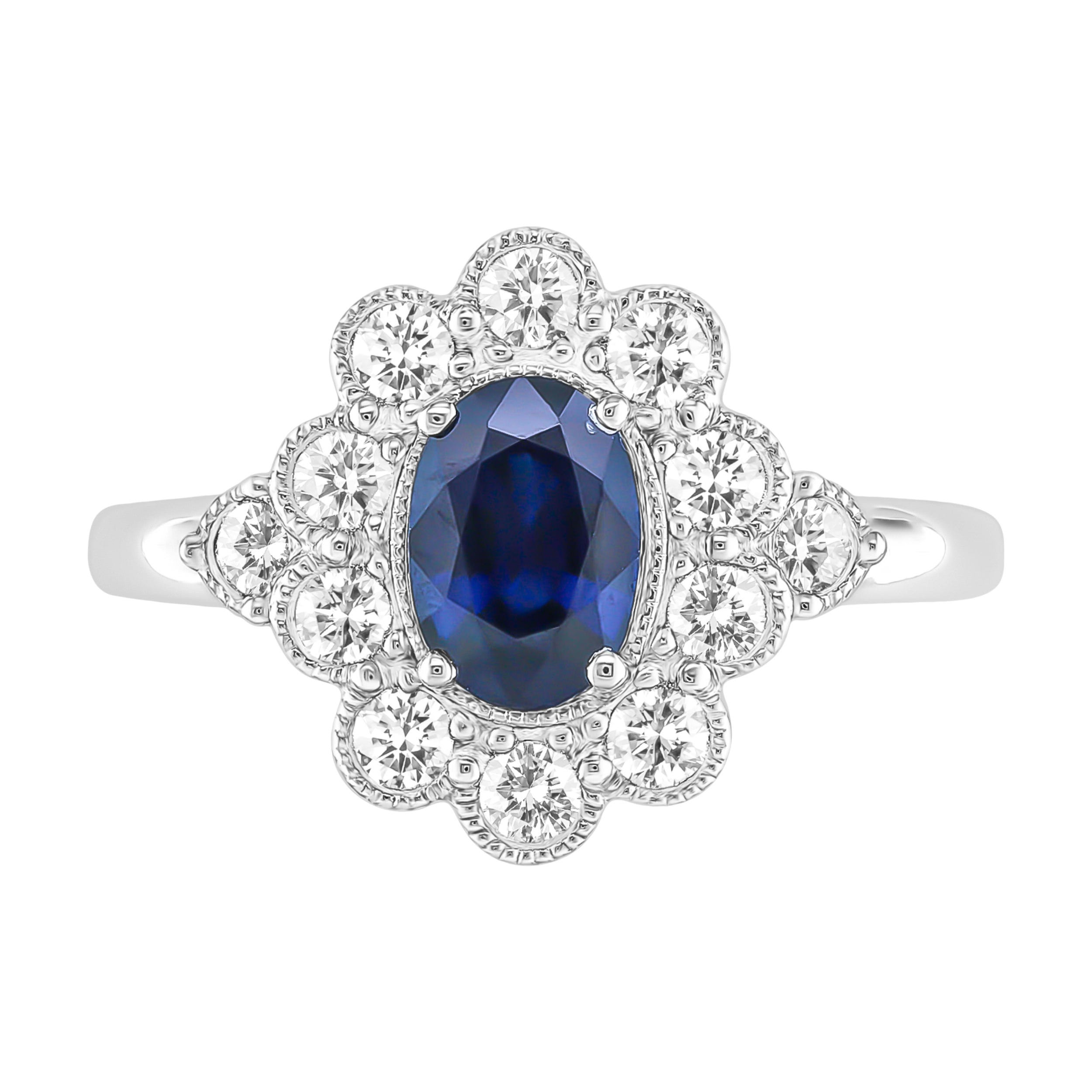 Oval Sapphire & Diamond Halo Ring in 10k White Gold