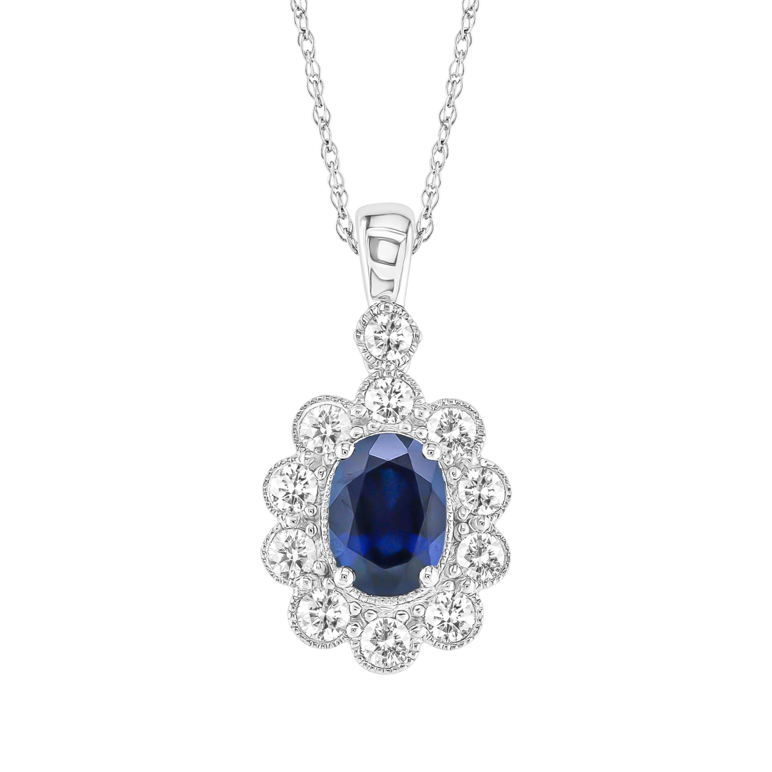 Sapphire & Diamond Oval Pendant in 10k White Gold