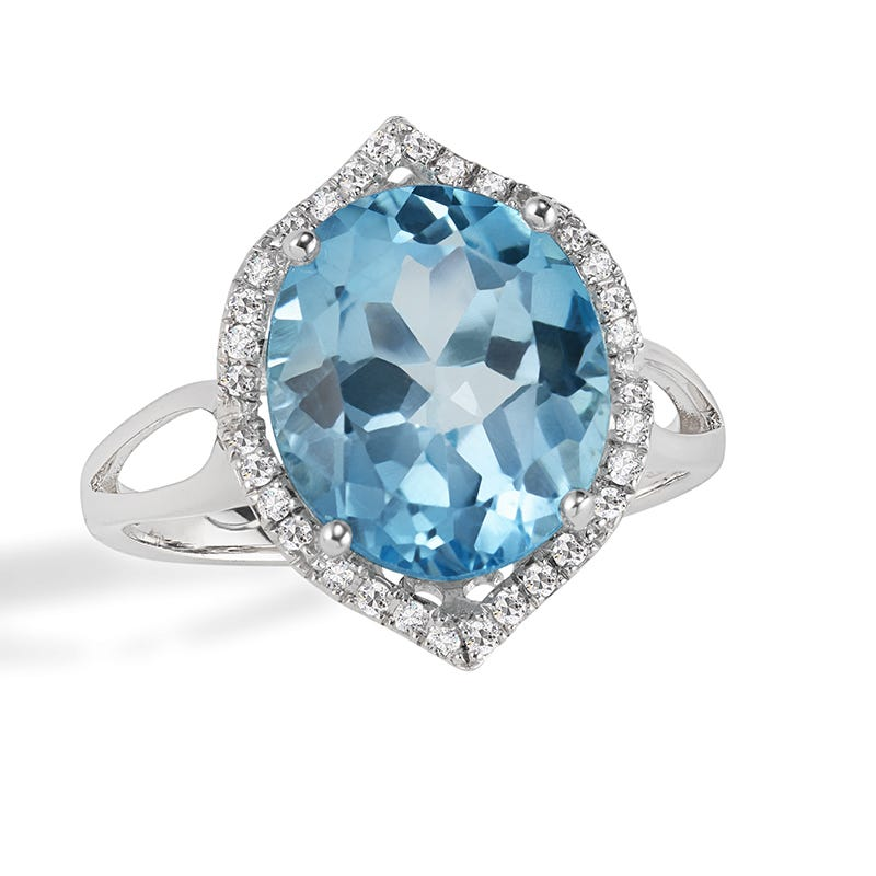 JK Crown® Oval Blue Topaz & Diamond Ring in 14k White Gold