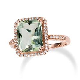 JK Crown® Green Amethyst & Diamond Halo Ring in 14k Rose Gold