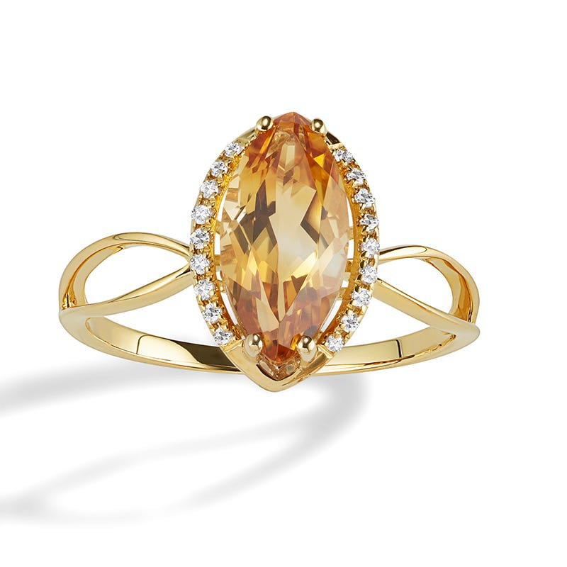JK Crown® Marquise Citrine & Diamond Ring in 14k Yellow Gold