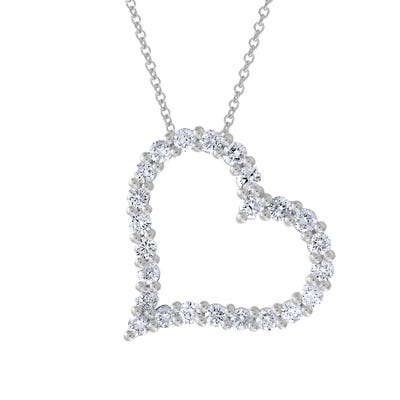 Lab Grown Heart Pendant 3/4ctw. In 14k White Gold