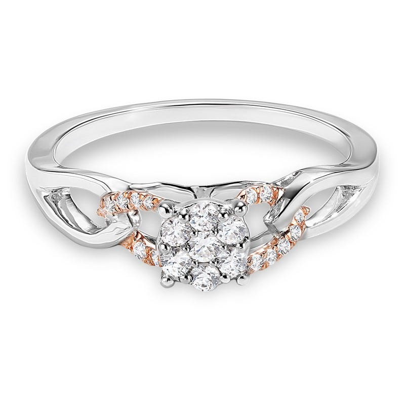 Diamond Cluster Link Promise Ring 1/4ctw. In 10k White & Rose Gold