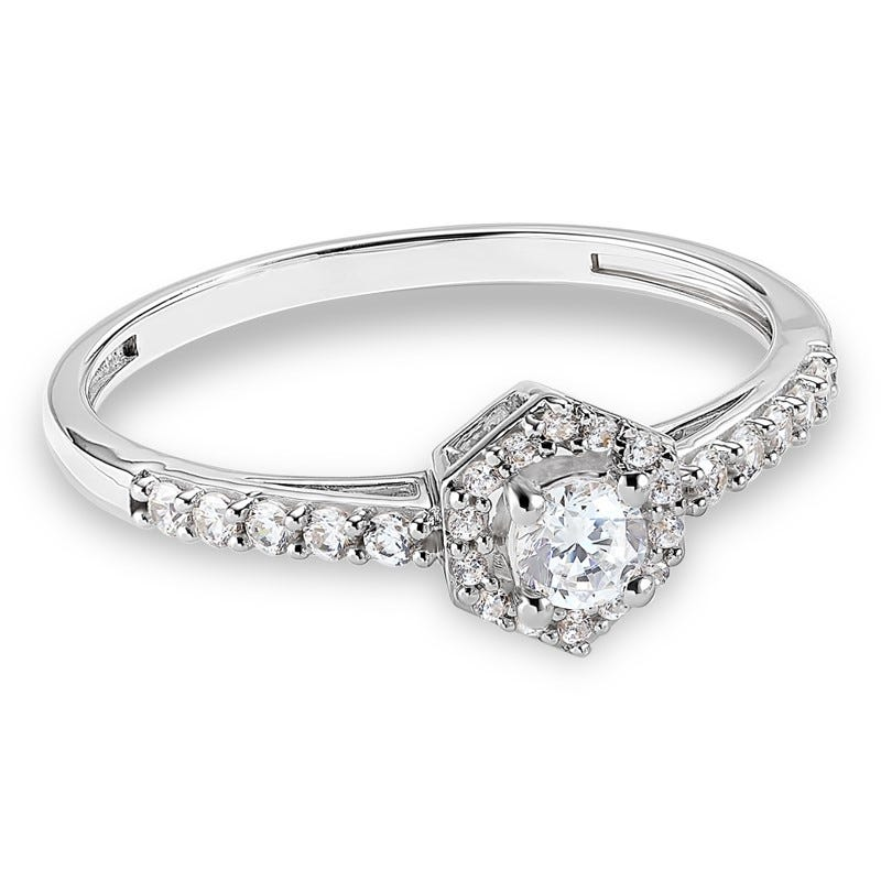 Diamond Hexagon Promise Ring 0.33ctw. In 10k White Gold