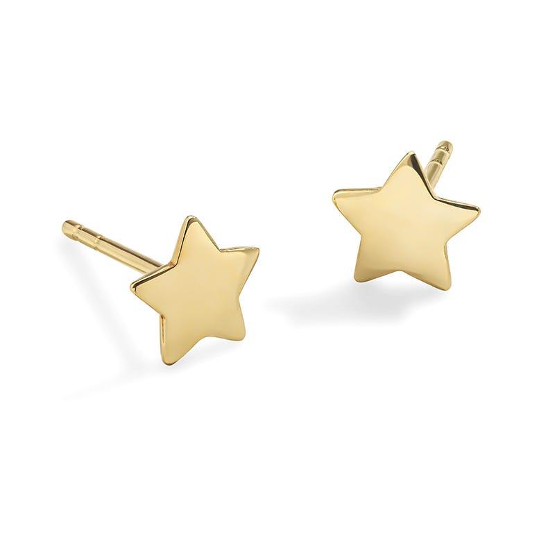 Star Stud 6.5mm Earrings in 14k Yellow Gold