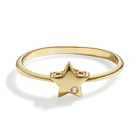 Diamond Accent Star Fashion Ring in 14k Yellow Gold