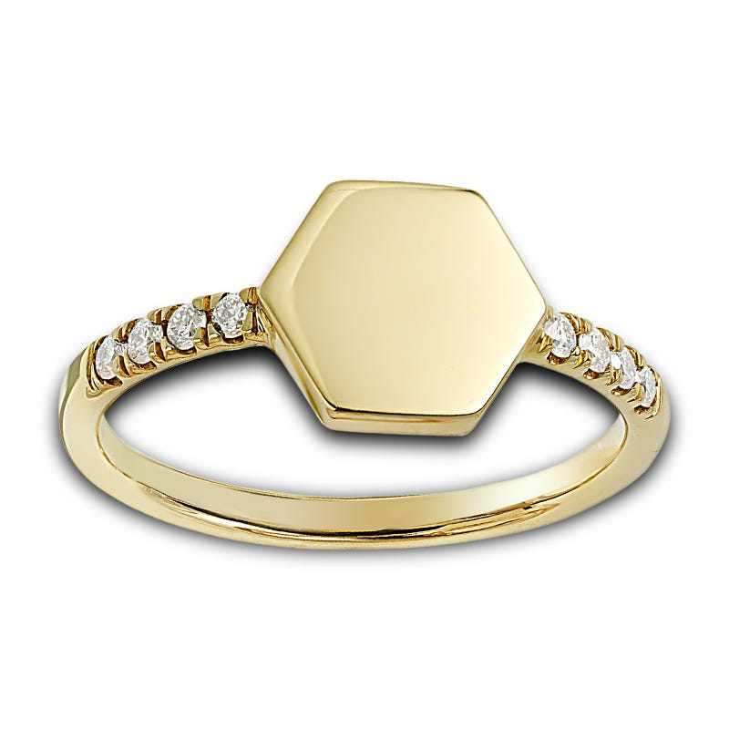 Hexagon Signet Fashion Ring 0.10ctw. In 10k Yellow Gold