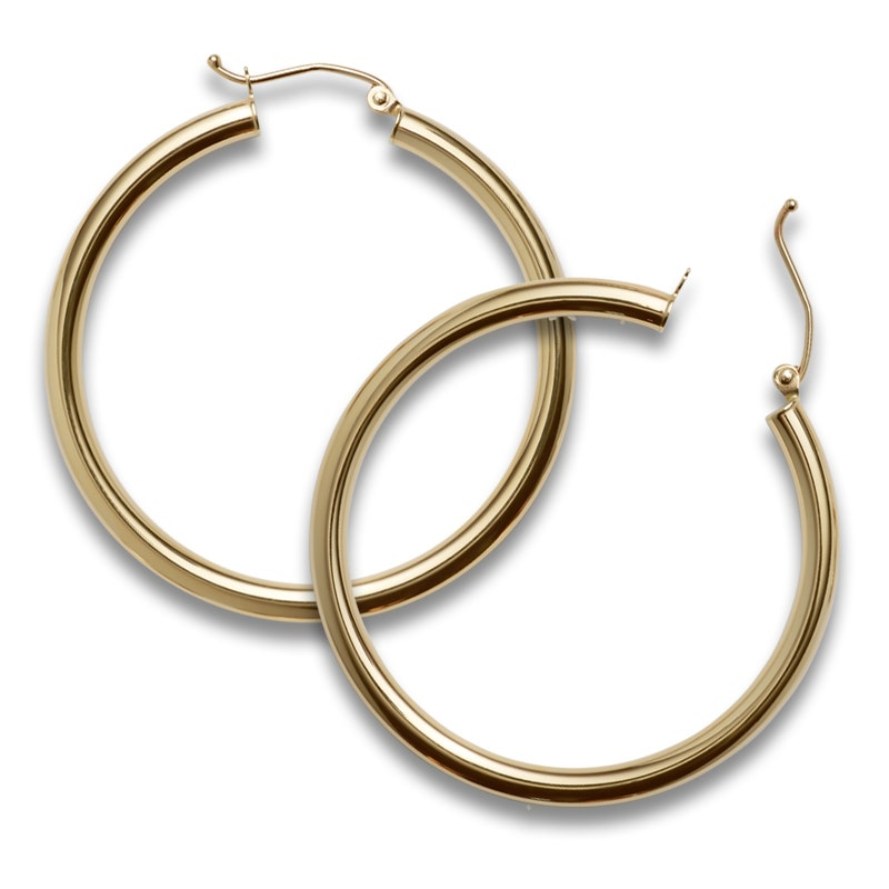 Gold Medium Circle Earrings with Gold Fishhook