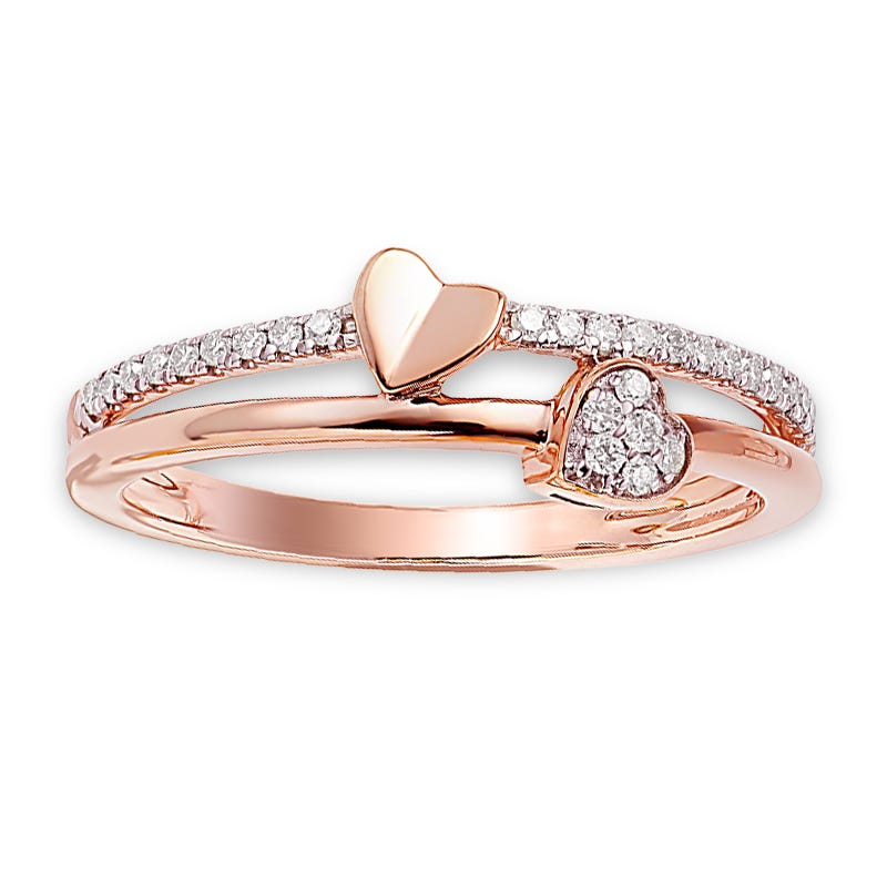 Diamond Double Heart Fashion Ring 0.14ctw. In Sterling Silver/ Rose Gold Plated