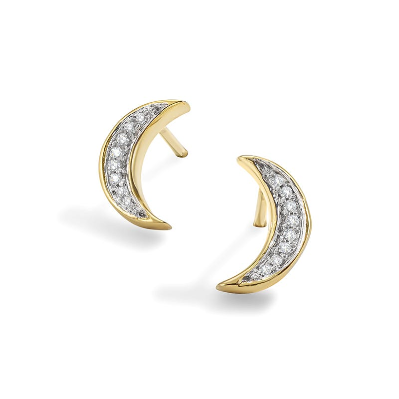 Diamond Moon Stud Earrings in 10k Yellow Gold