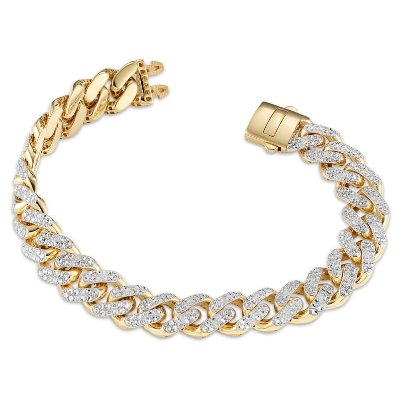 Diamond Pave 1.10ctw Link Bracelet in 14k Yellow Gold