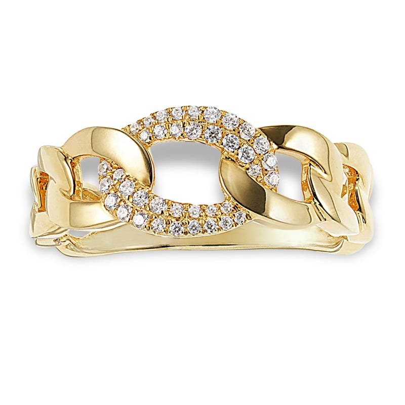 Women's Open Link Fashion Ring 0.15ctw. In 14k Yellow Gold
