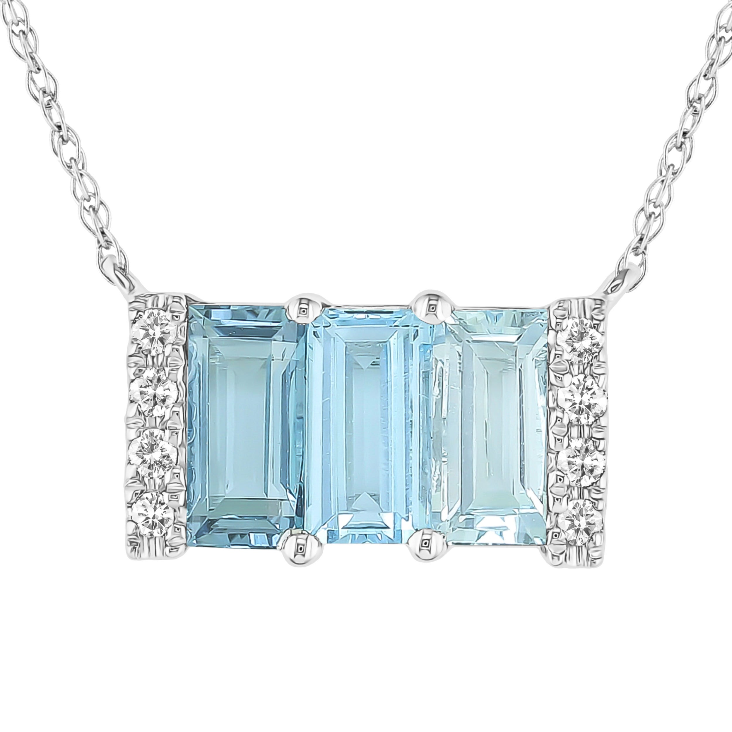 Blue Topaz & Diamond 3 Stone Baguette Necklace in 10k White Gold