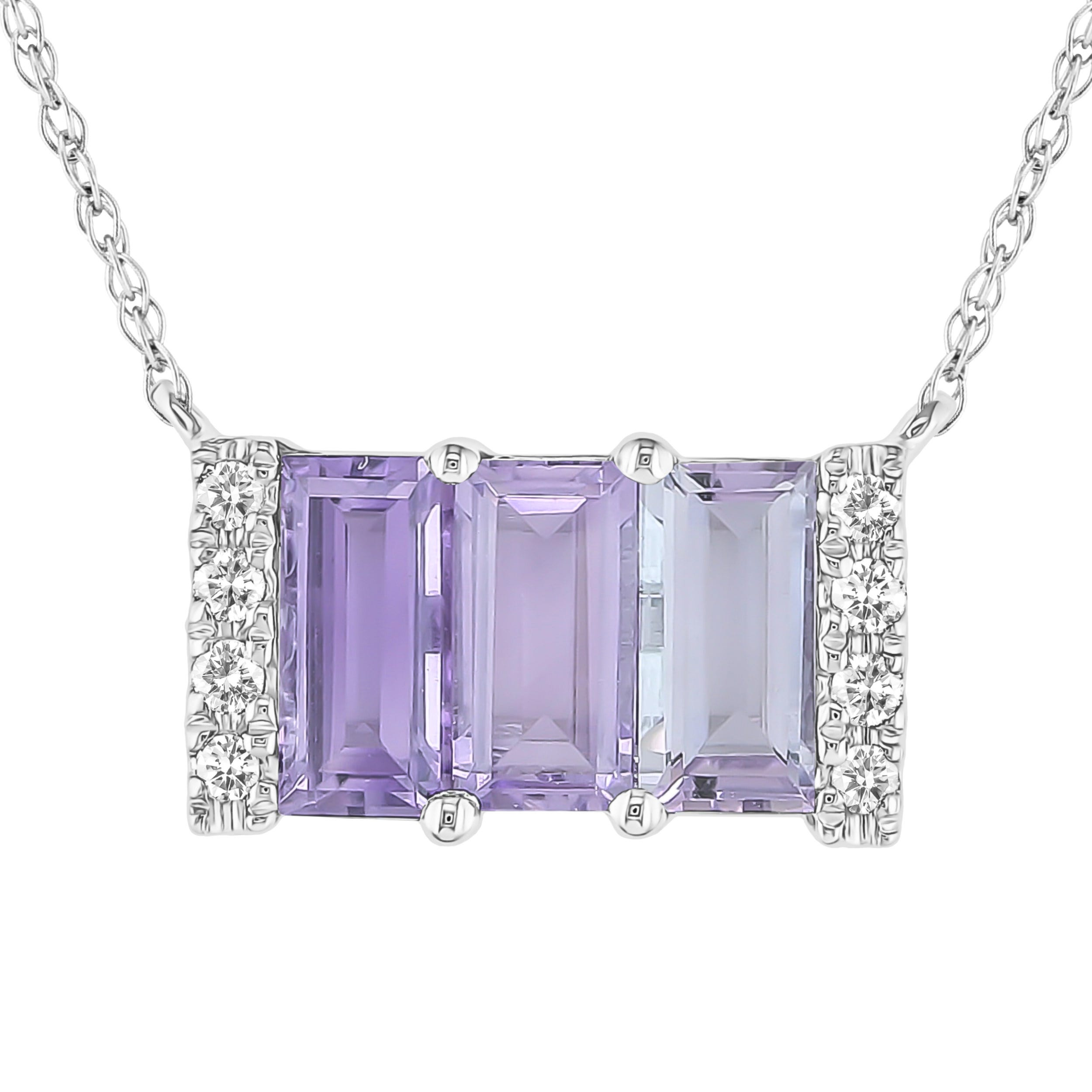 Amethyst & Diamond 3 Stone Baguette Necklace in 10k White Gold