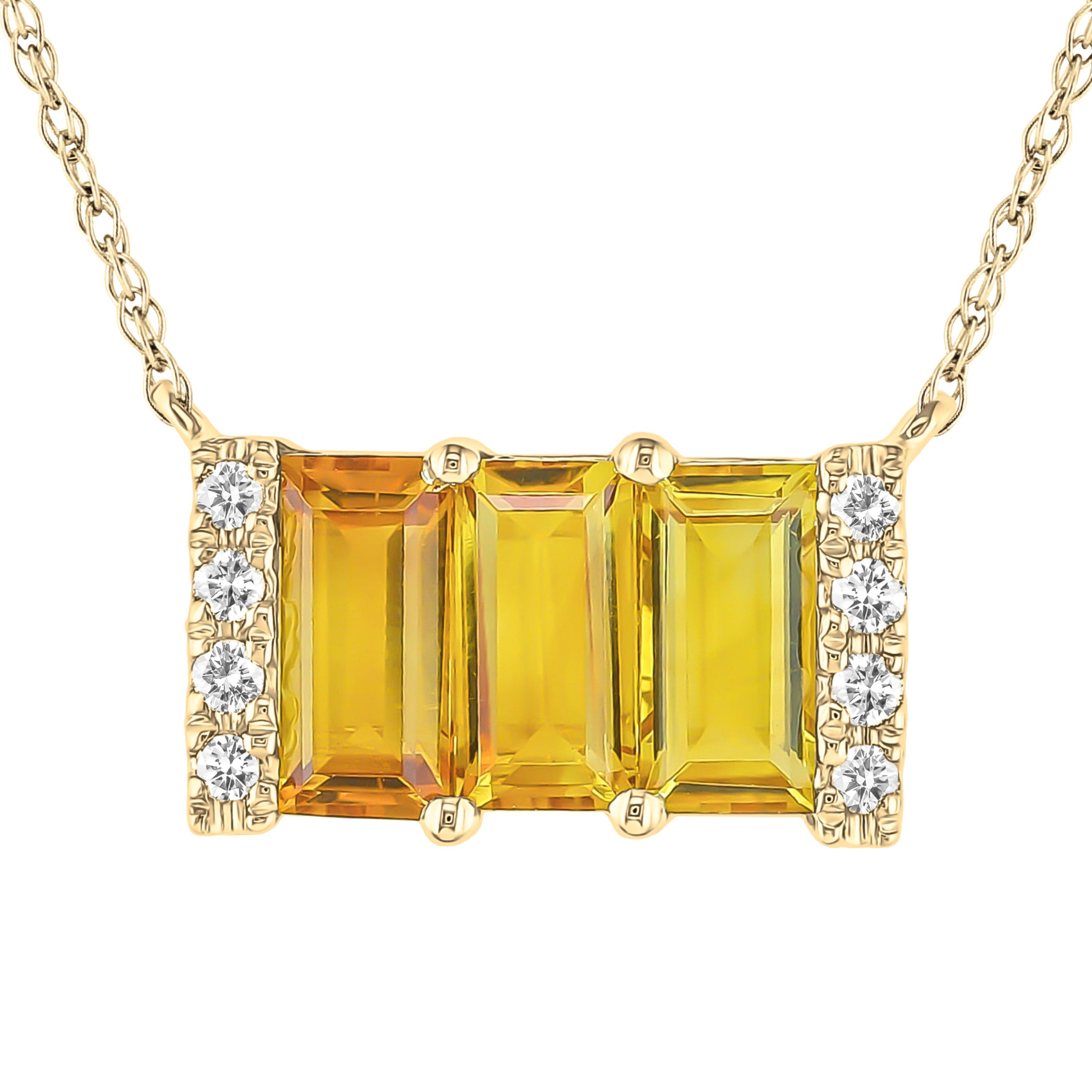 Citrine & Diamond 3 Stone Baguette Necklace in 10k Yellow Gold