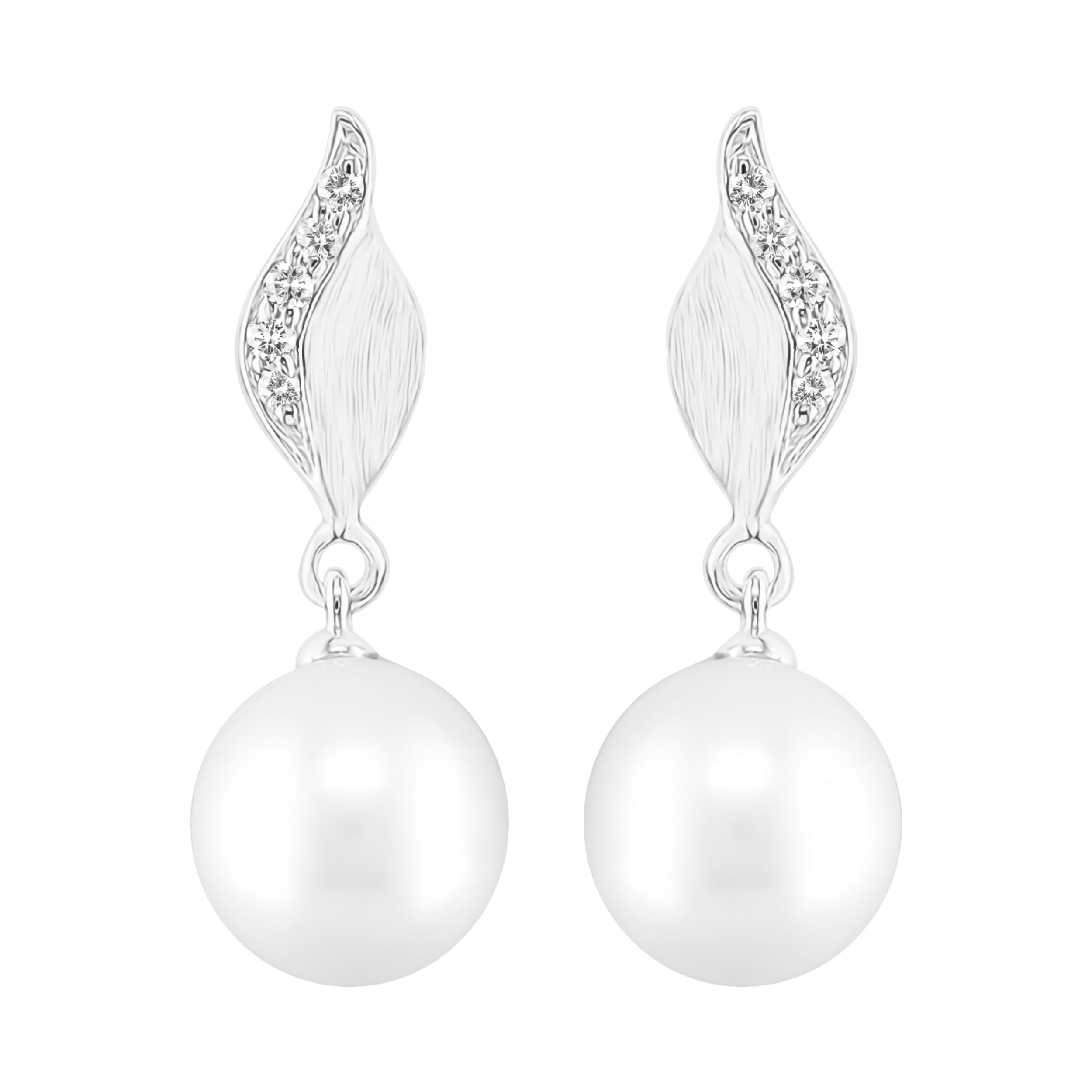 Freshwater Pearl & Diamond Twist Earrings in 10k White Gold
